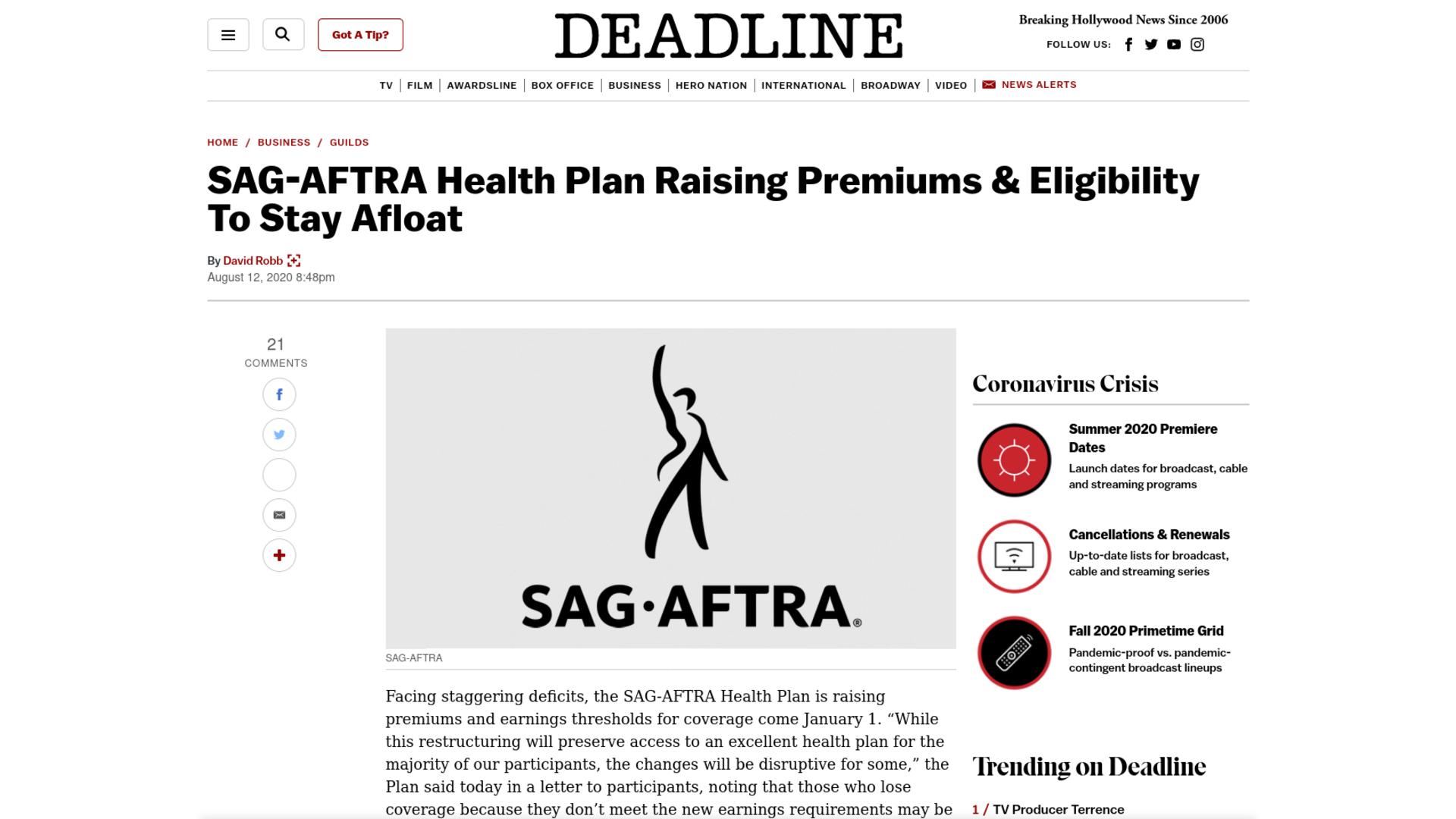 Fairness Rocks News SAG-AFTRA Health Plan Raising Premiums & Eligibility To Stay Afloat