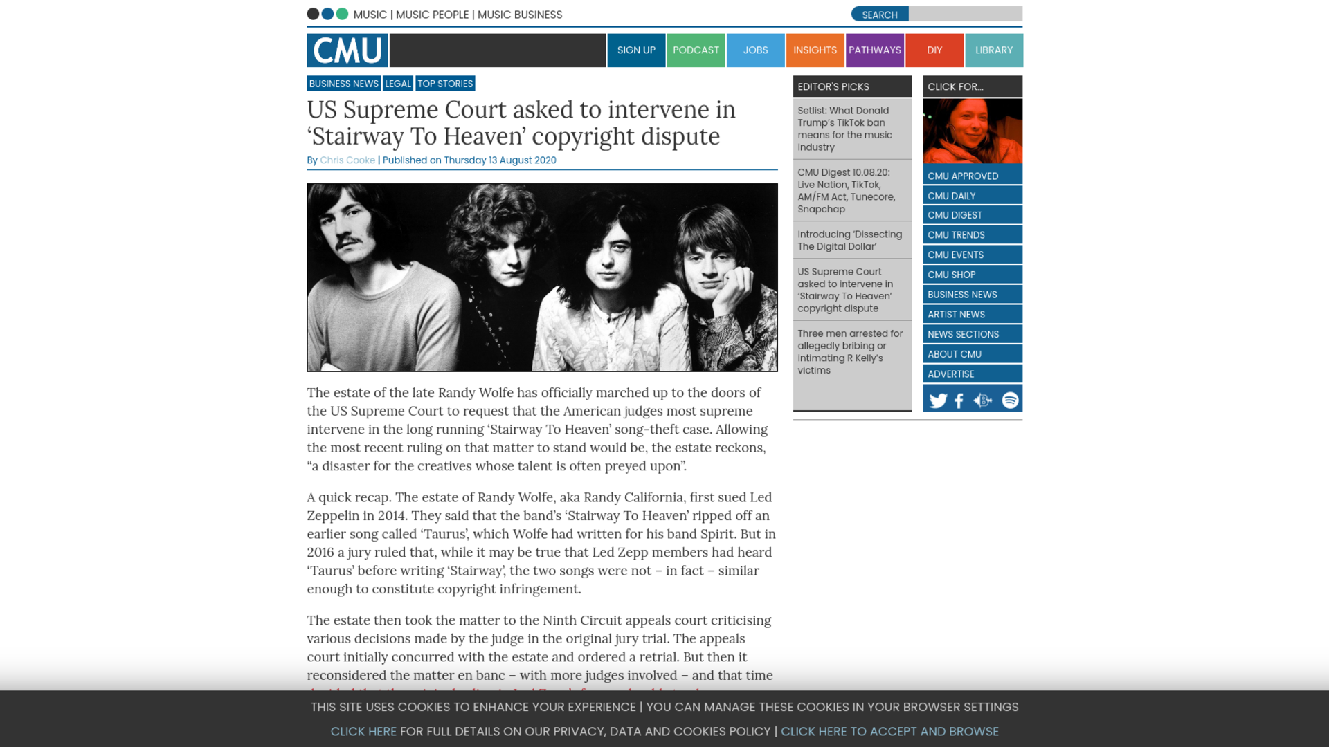 Fairness Rocks News US Supreme Court asked to intervene in 'Stairway To Heaven' copyright dispute