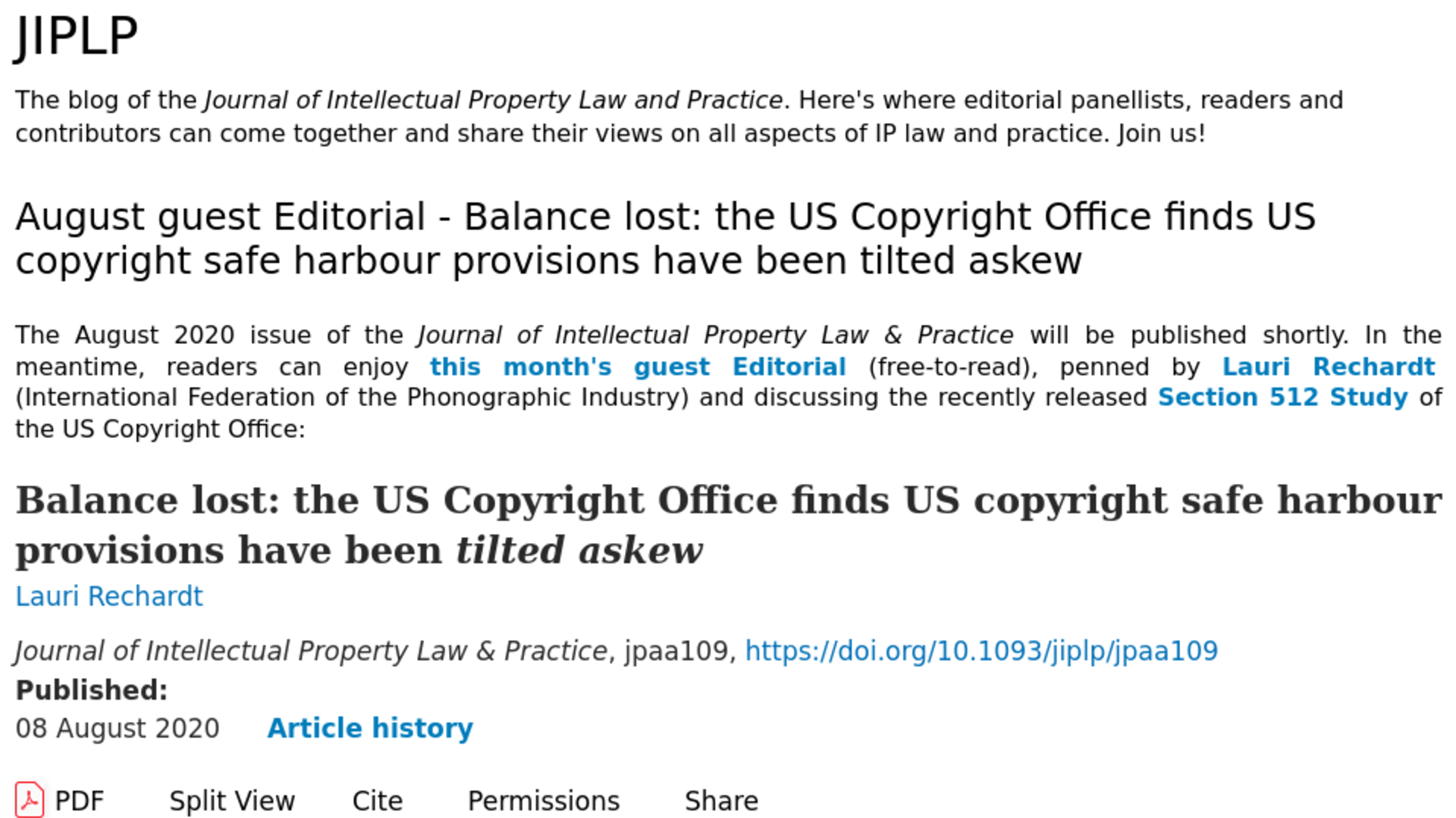Fairness Rocks News Balance lost: the US Copyright Office finds US copyright safe harbour provisions have been tilted askew