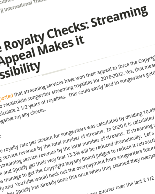 Fairness Rocks News Negative Royalty Checks: Streaming Service Appeal Makes it Real Possibility