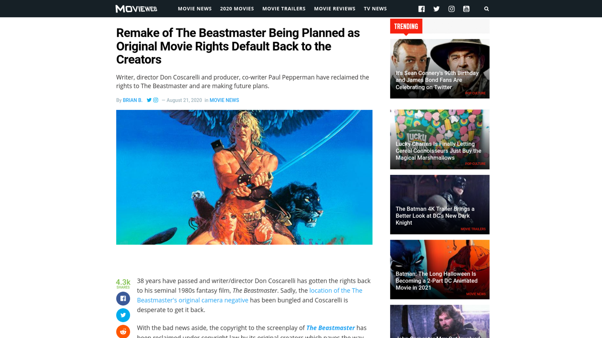Fairness Rocks News Remake of The Beastmaster Being Planned as Original Movie Rights Default Back to the Creators