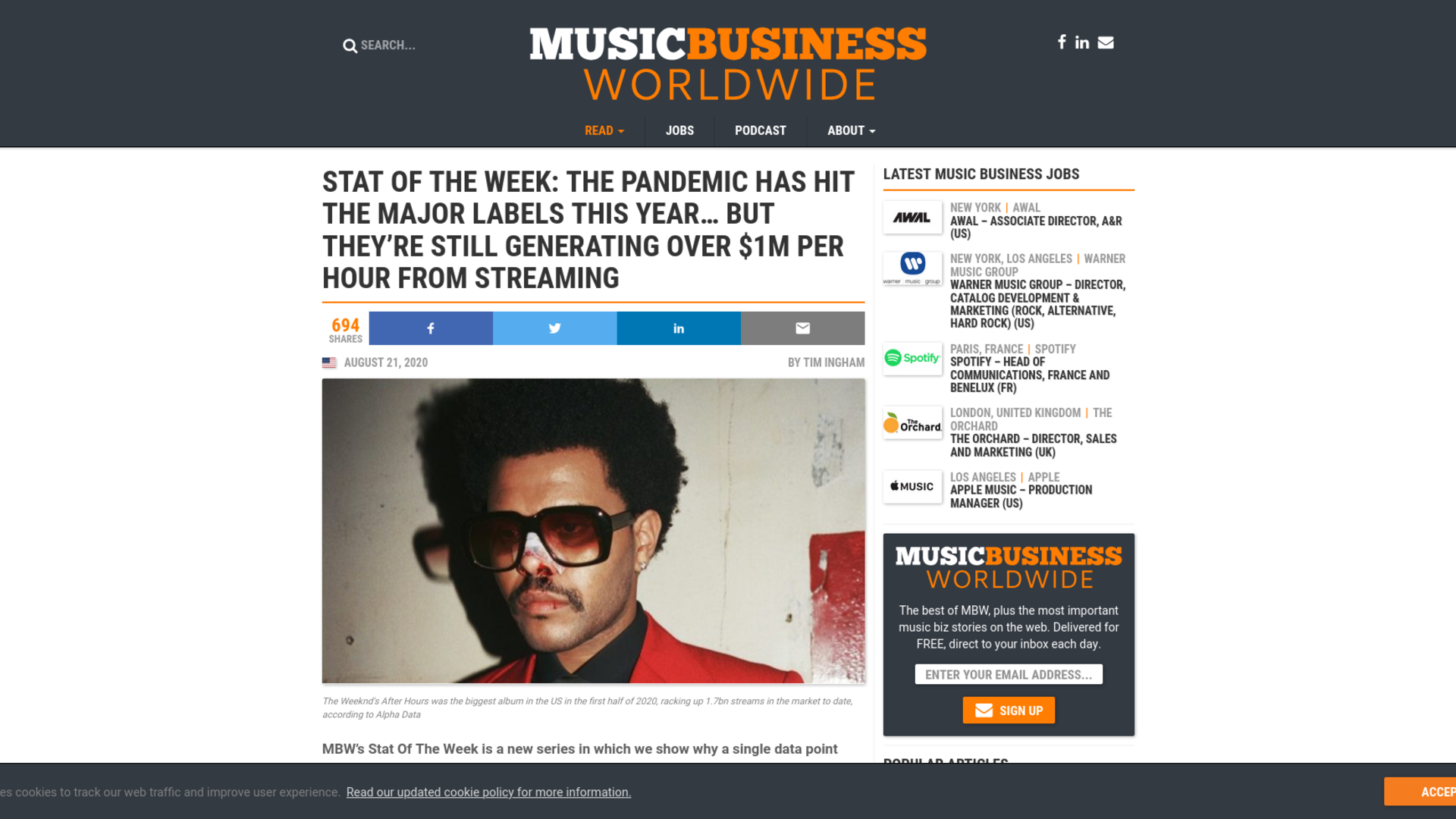 Fairness Rocks News Stat Of The Week: The pandemic has hit the major labels this year… but they're still generating over $1m per hour from streaming