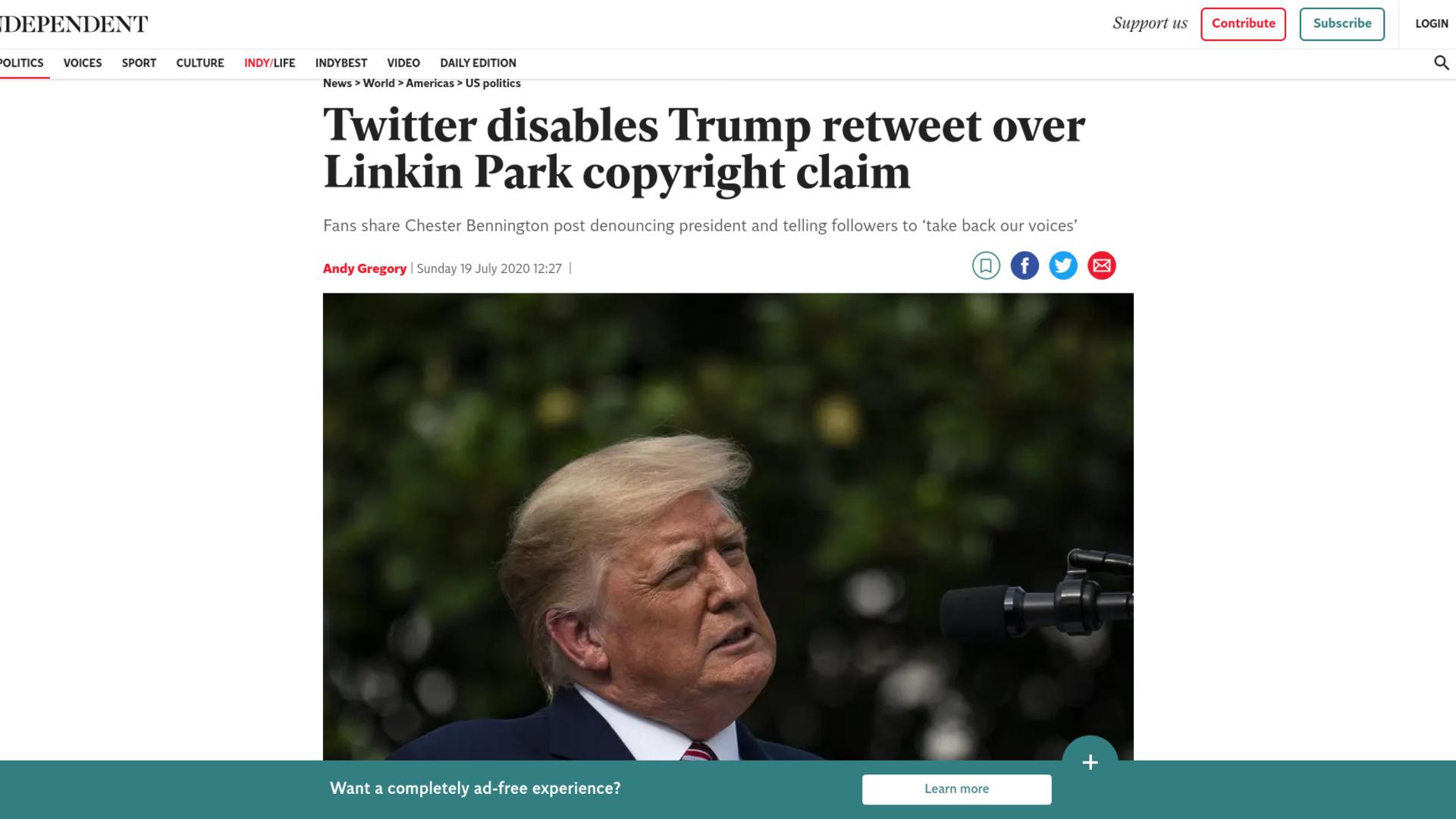 Fairness Rocks News Twitter disables Trump retweet over Linkin Park copyright claim