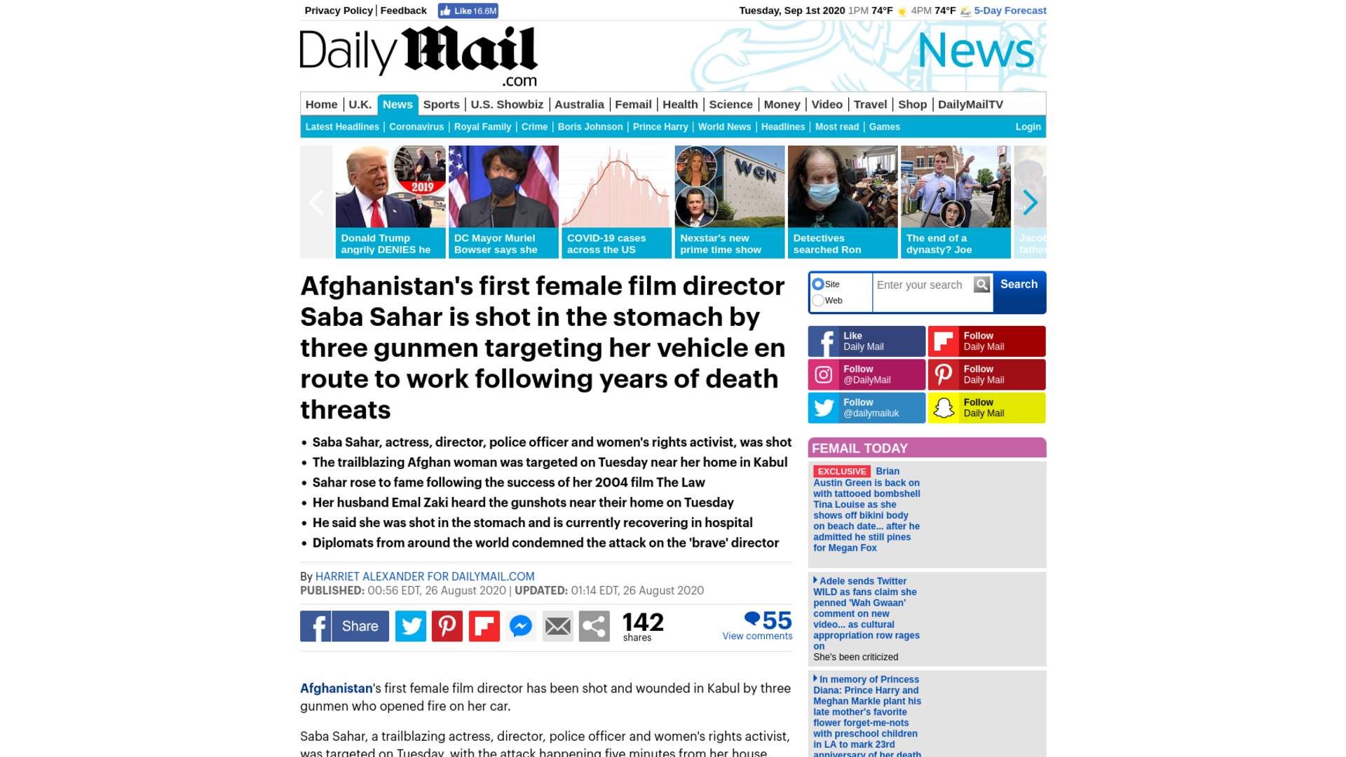 Fairness Rocks News Afghanistan's first female film director Saba Sahar is shot in the stomach by three gunmen targeting her vehicle en route to work following years of death threats