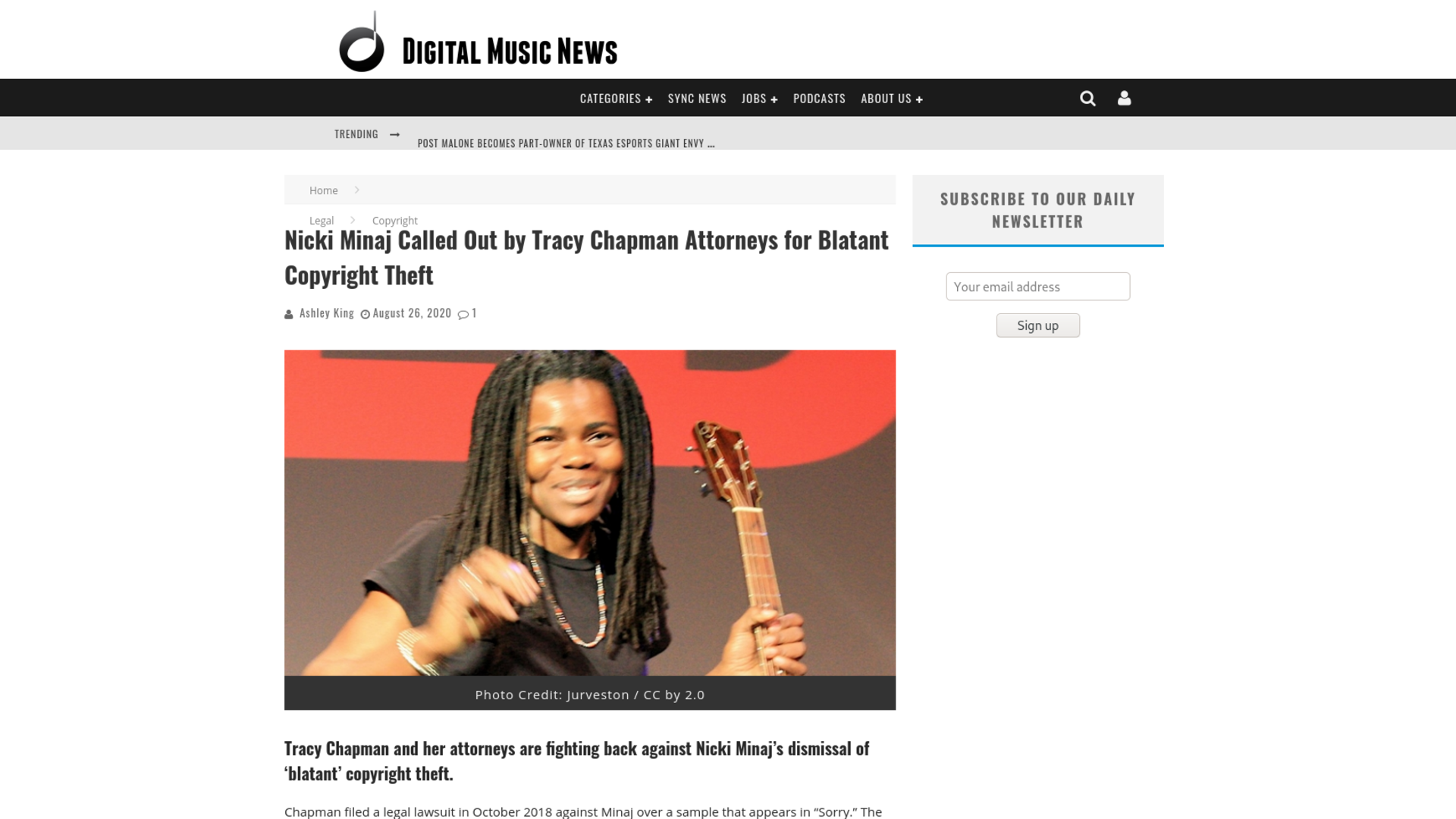 Fairness Rocks News Nicki Minaj Called Out by Tracy Chapman Attorneys for Blatant Copyright Theft
