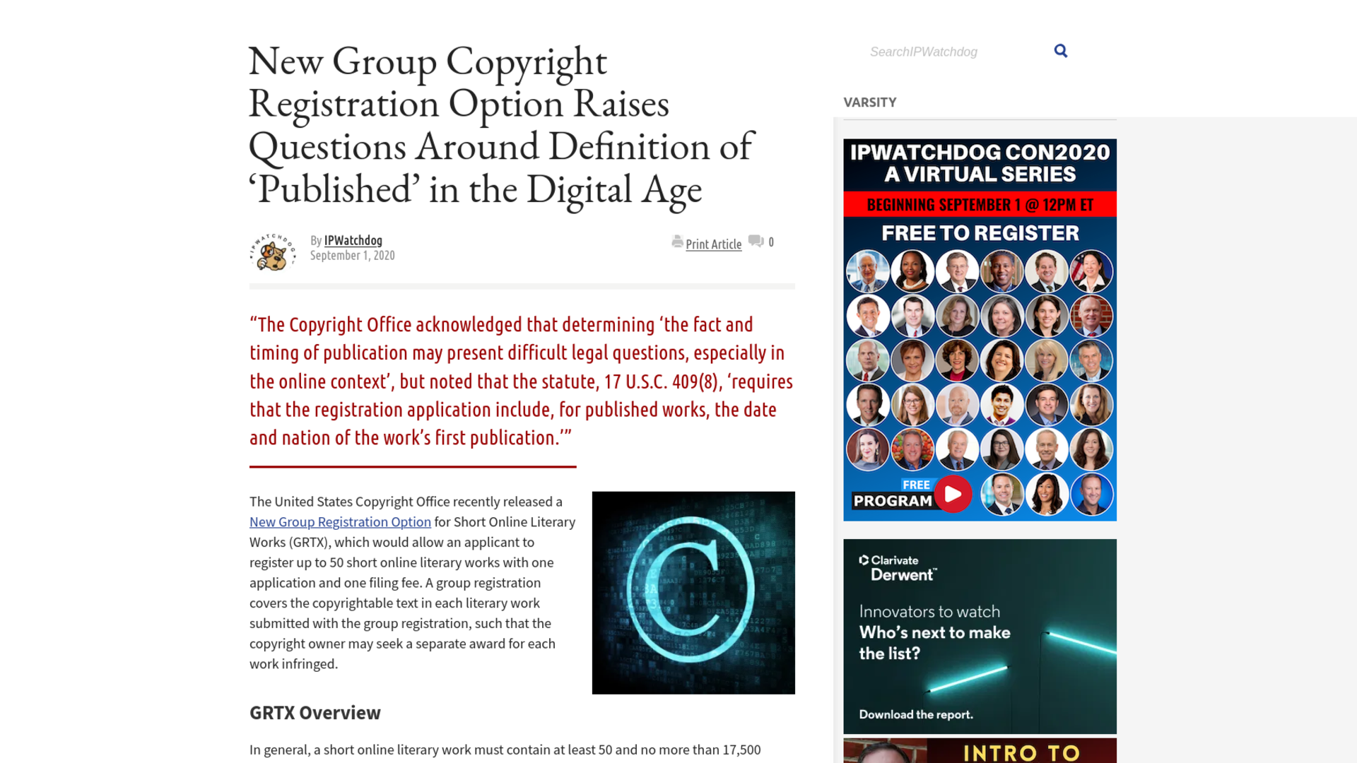 Fairness Rocks News New Group Copyright Registration Option Raises Questions Around Definition of 'Published' in the Digital Age