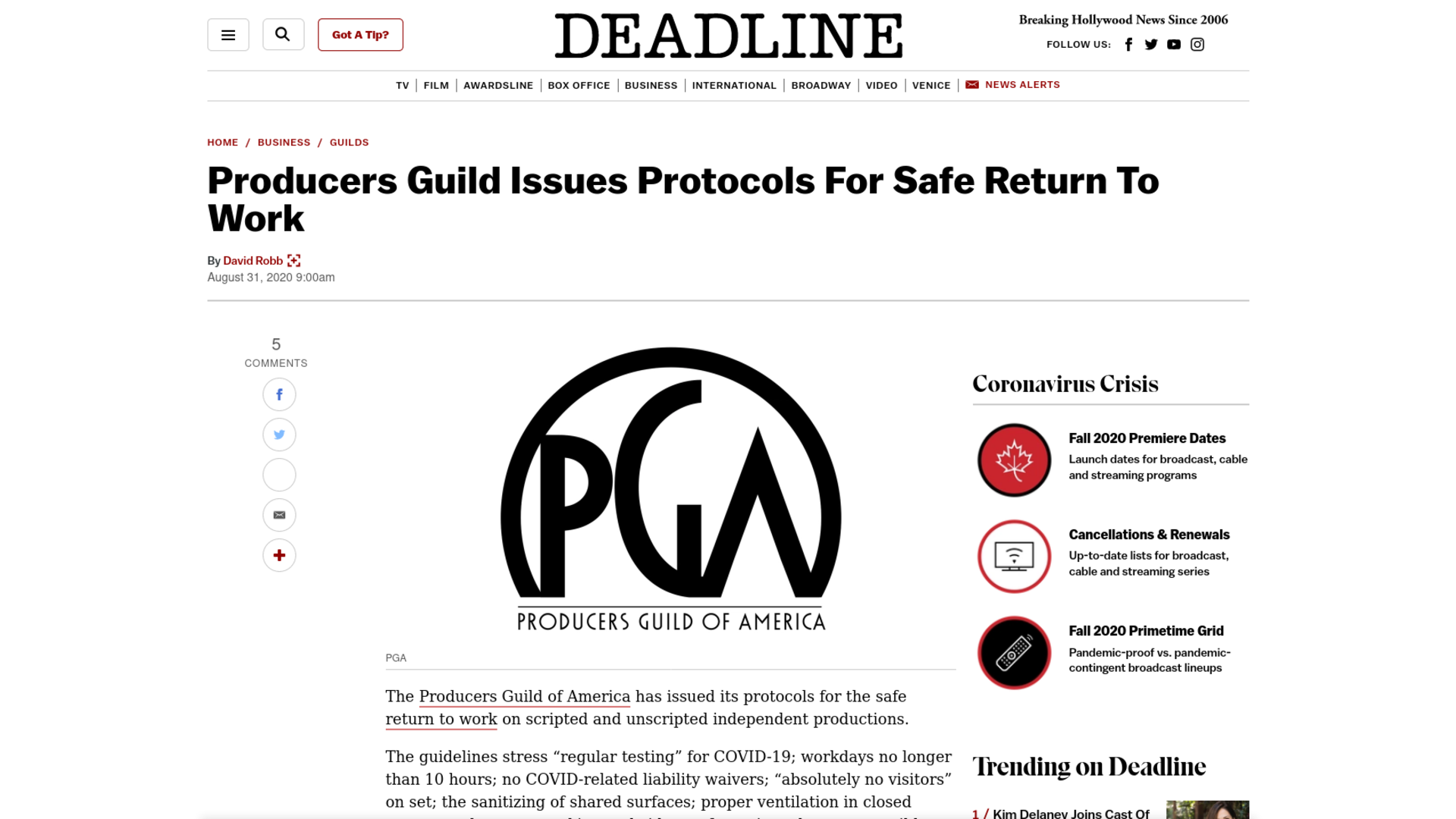 Fairness Rocks News Producers Guild Issues Protocols For Safe Return To Work