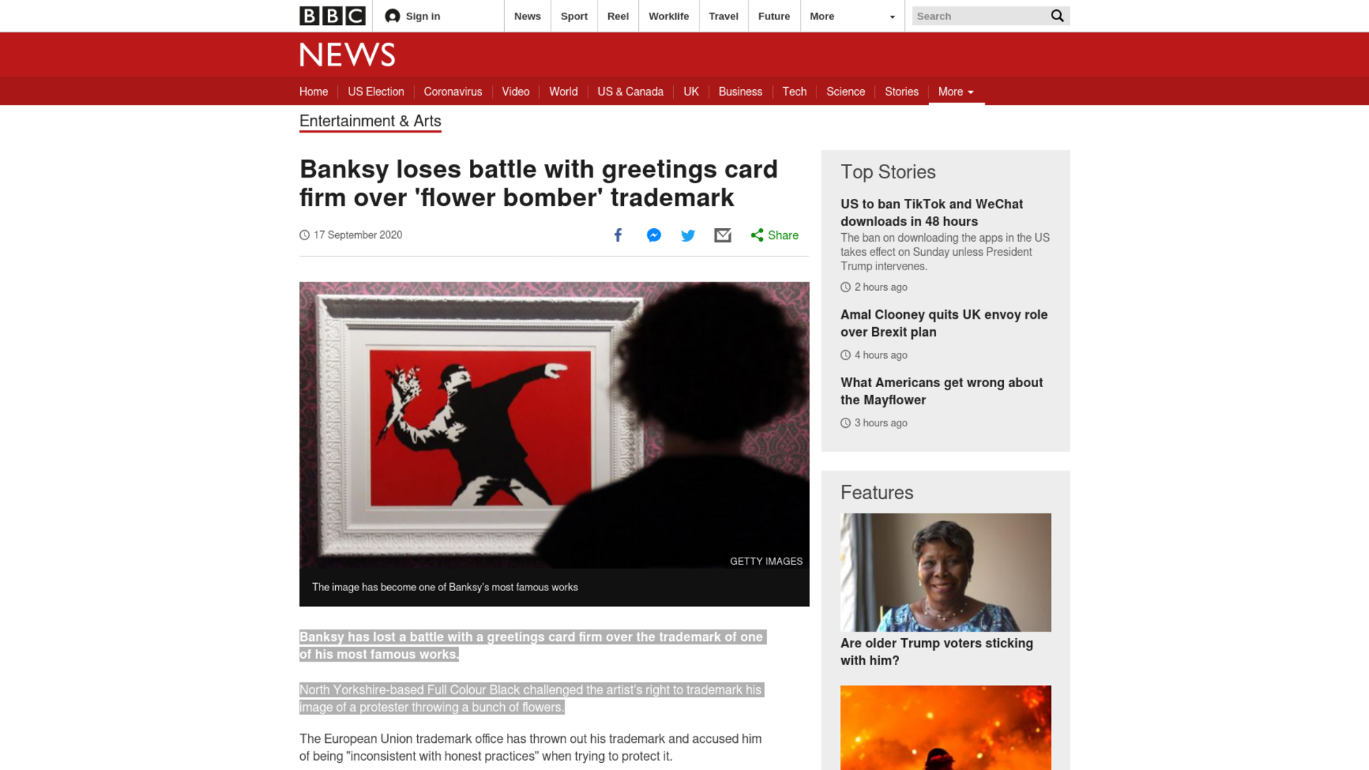 Fairness Rocks News Banksy loses battle with greetings card firm over 'flower bomber' trademark