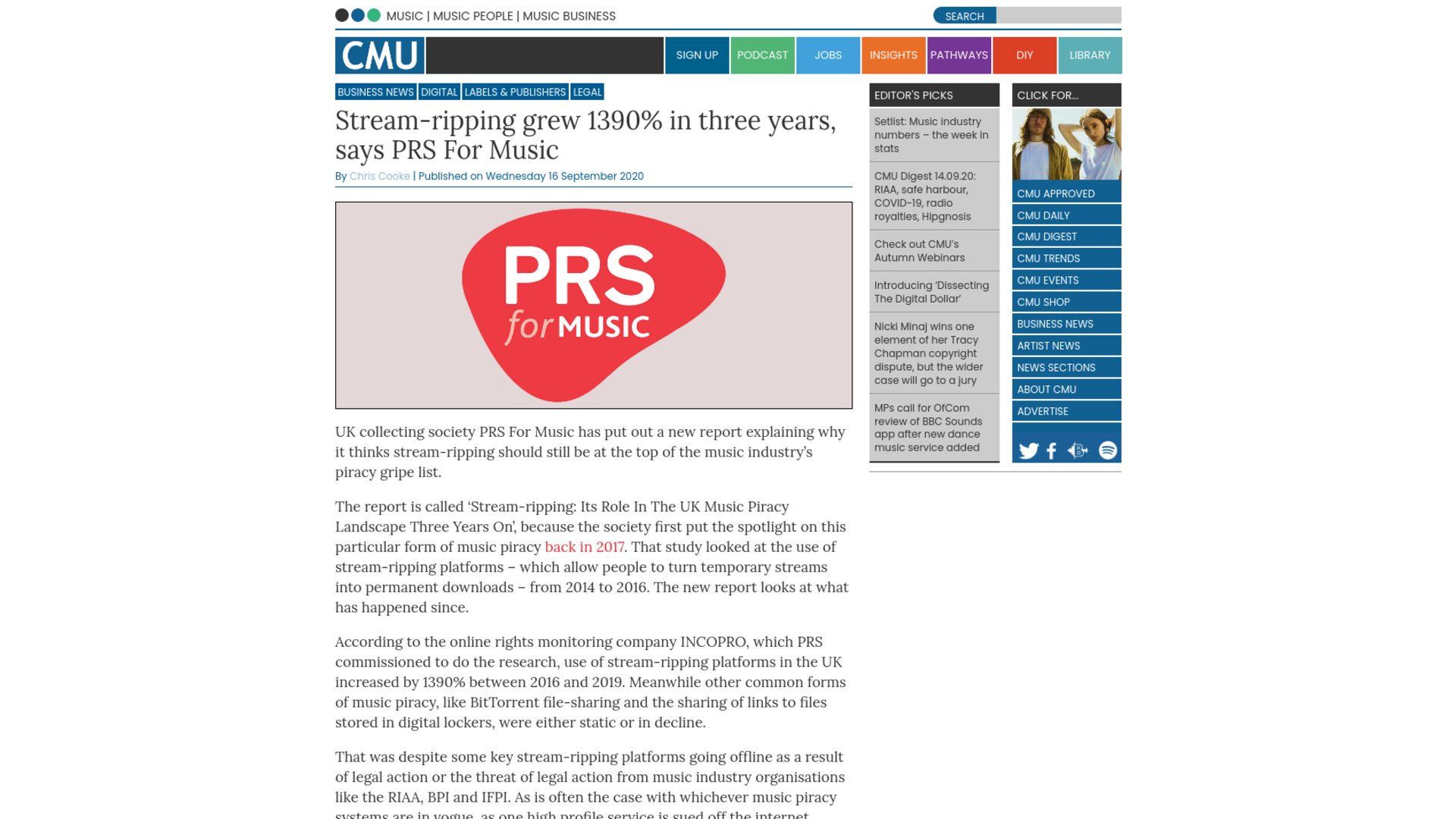 Fairness Rocks News Stream-ripping grew 1390% in three years, says PRS For Music