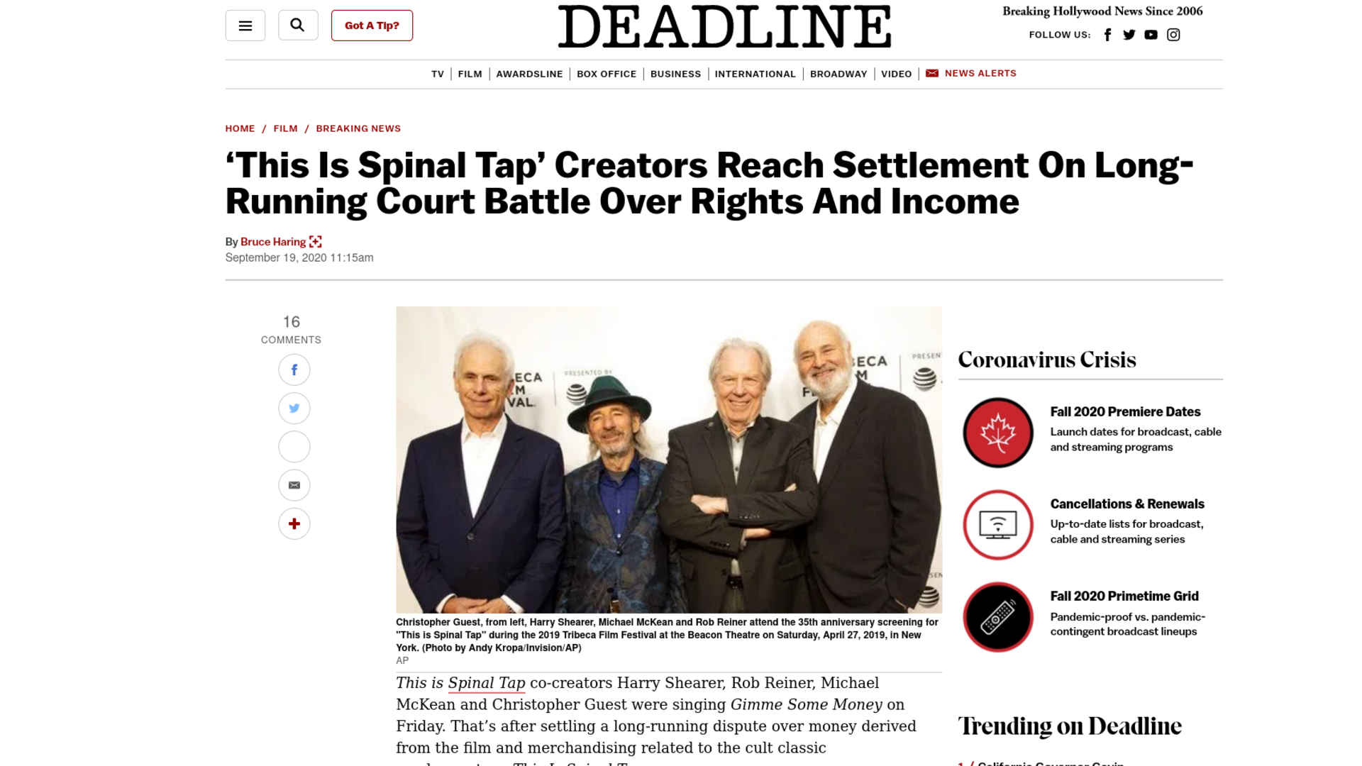 Fairness Rocks News 'This Is Spinal Tap' Creators Reach Settlement On Long-Running Court Battle Over Rights And Income