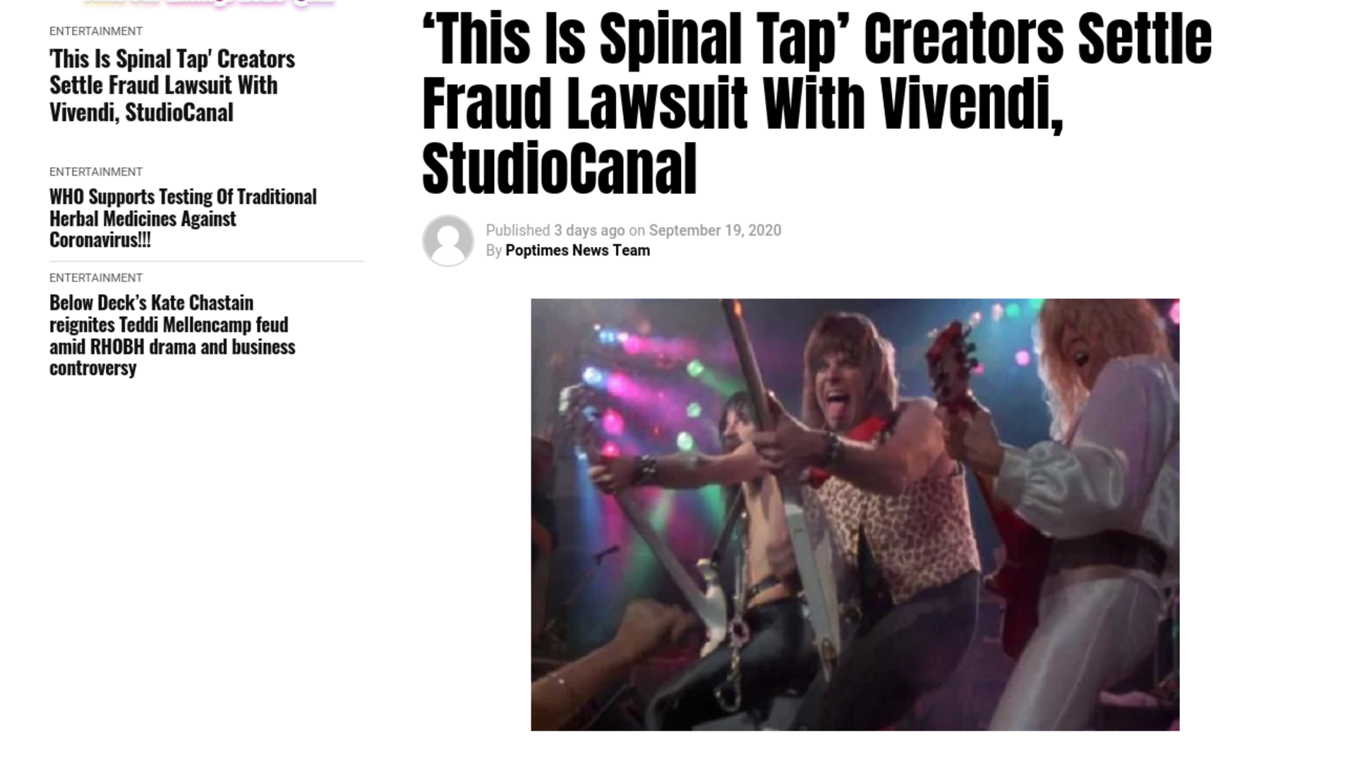 Fairness Rocks News 'This Is Spinal Tap' Creators Settle Fraud Lawsuit With Vivendi, StudioCanal