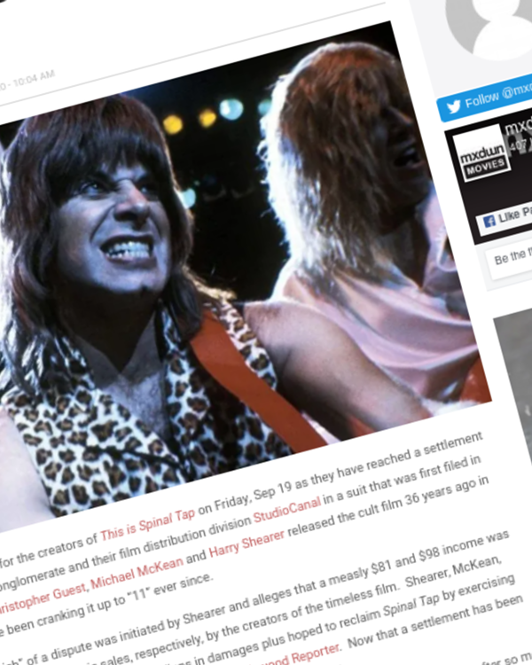 Fairness Rocks News Dispute Settled Between 'This is Spinal Tap' Creators and Vivendi, StudioCanal