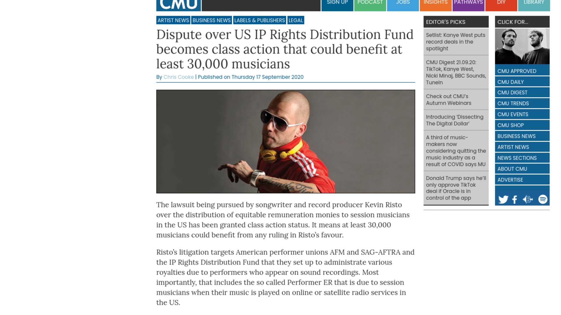 Fairness Rocks News Dispute over US IP Rights Distribution Fund becomes class action that could benefit at least 30,000 musicians