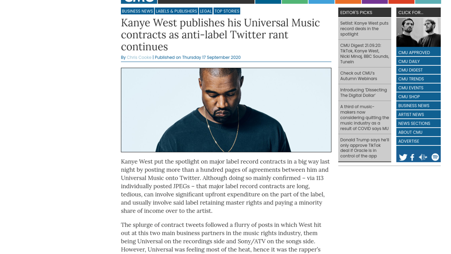 Fairness Rocks News Kanye West publishes his Universal Music contracts as anti-label Twitter rant continues
