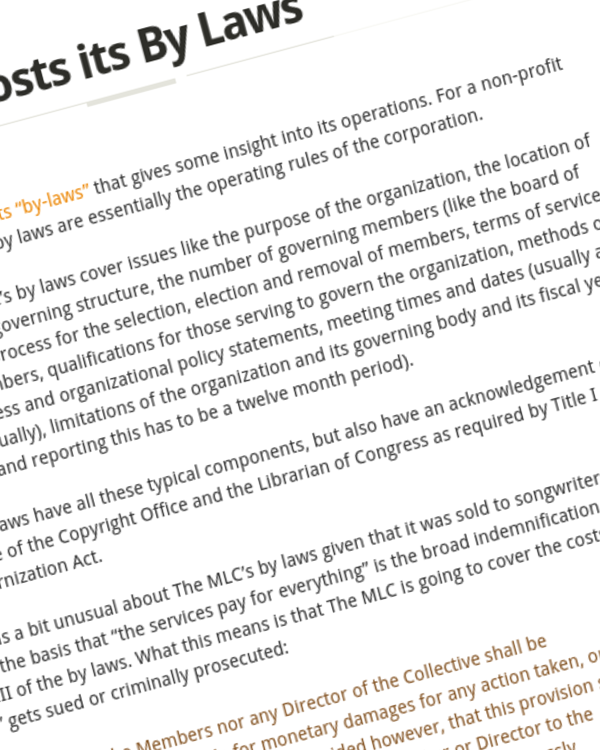 Fairness Rocks News The MLC Posts its By Laws