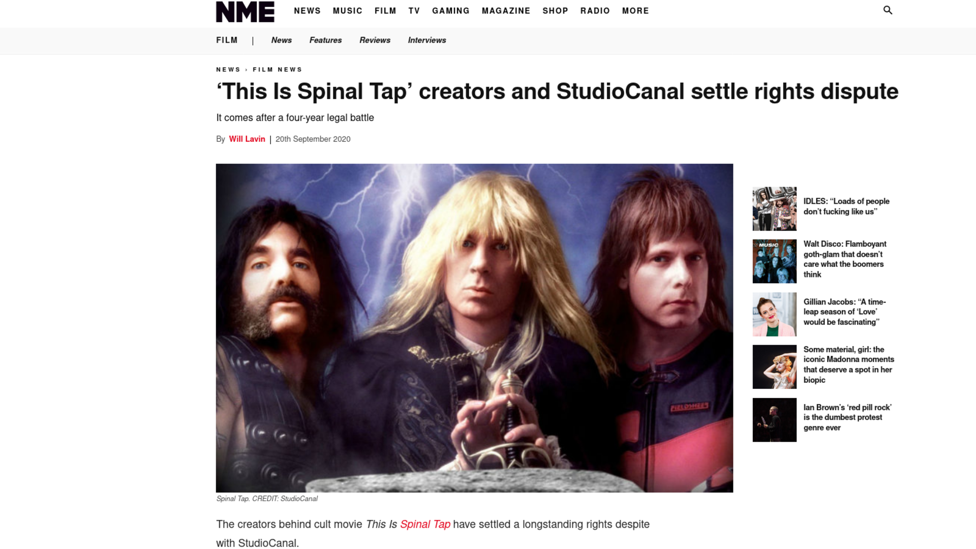 Fairness Rocks News 'This Is Spinal Tap' creators and StudioCanal settle rights dispute