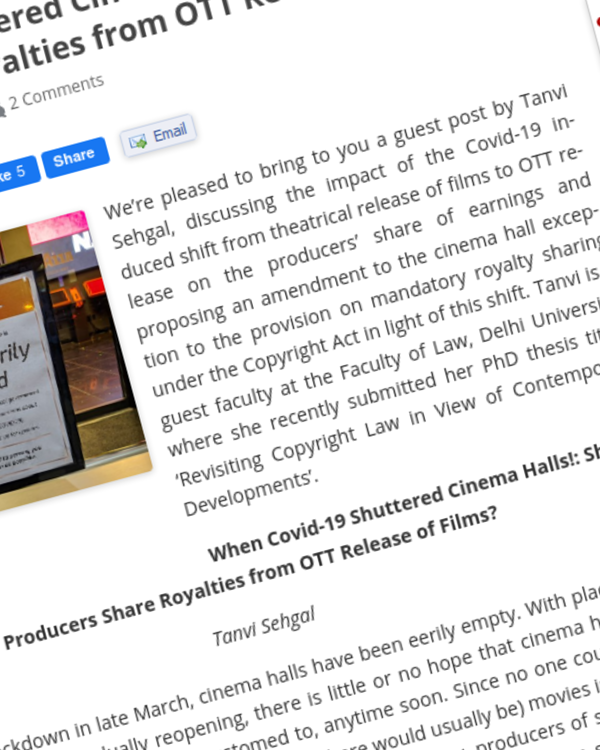 Fairness Rocks News When Covid-19 Shuttered Cinema Halls!: Should Producers Share Royalties from OTT Release of Films?