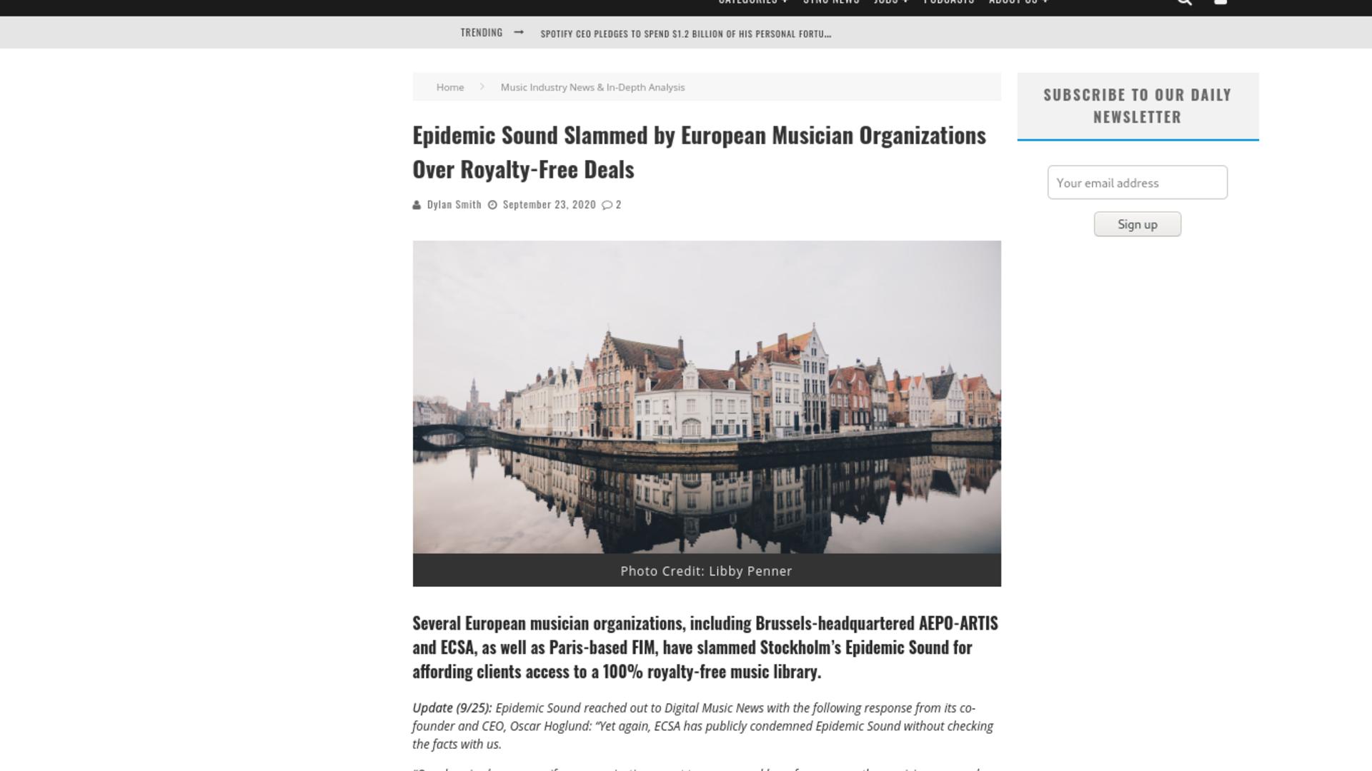 Fairness Rocks News Epidemic Sound Slammed by European Musician Organizations Over Royalty-Free Deals