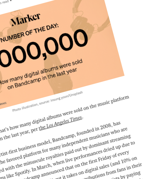 Fairness Rocks News Bandcamp's Attempt to Take on Spotify, by the Numbers