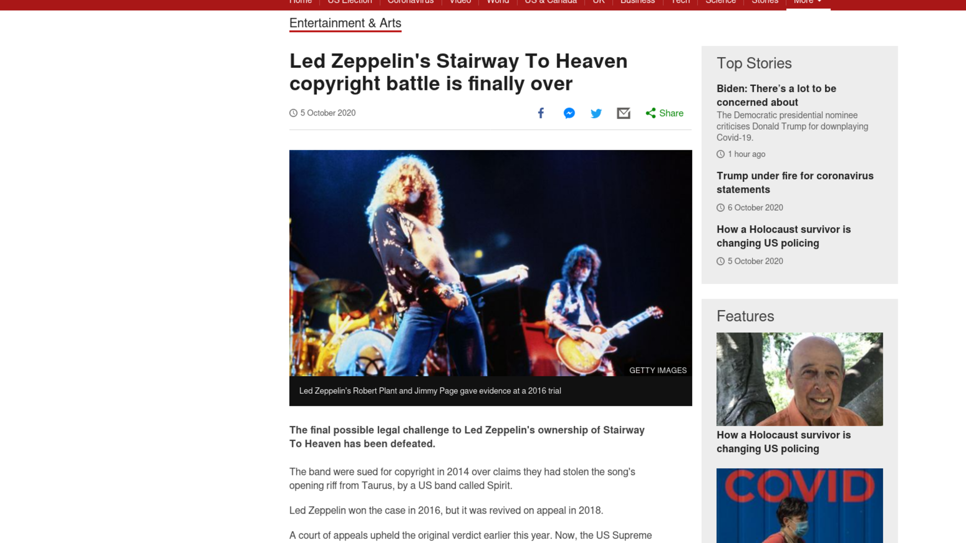 Fairness Rocks News Led Zeppelin's Stairway To Heaven copyright battle is finally over