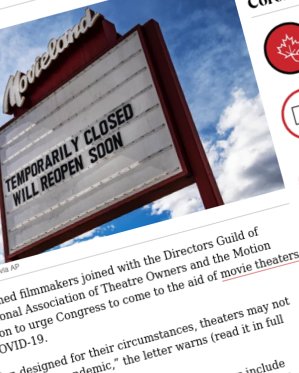 "Fairness Rocks News Movie Theater Rescue Called For By Top Filmmakers, NATO, MPA, DGA In Letter To Congress: ""Theaters May Not Survive"""