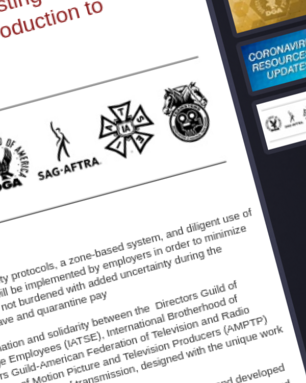 Fairness Rocks News The DGA, SAG-AFTRA, IATSE, Teamsters and the Basic Crafts Announce COVID-19 Testing and Protocols Adopted with the AMPTP to Allow Production to Resume Safely