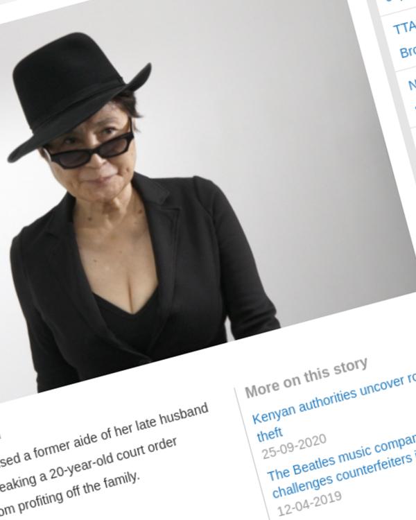 Fairness Rocks News Yoko Ono accuses John Lennon's aide of copyright infringement