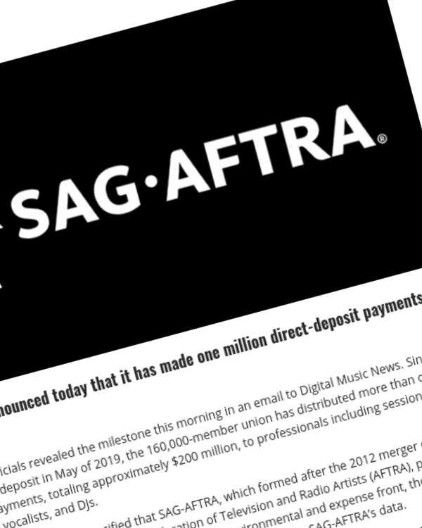Fairness Rocks News SAG-AFTRA Has Made One Million Direct Deposit Payments to Members