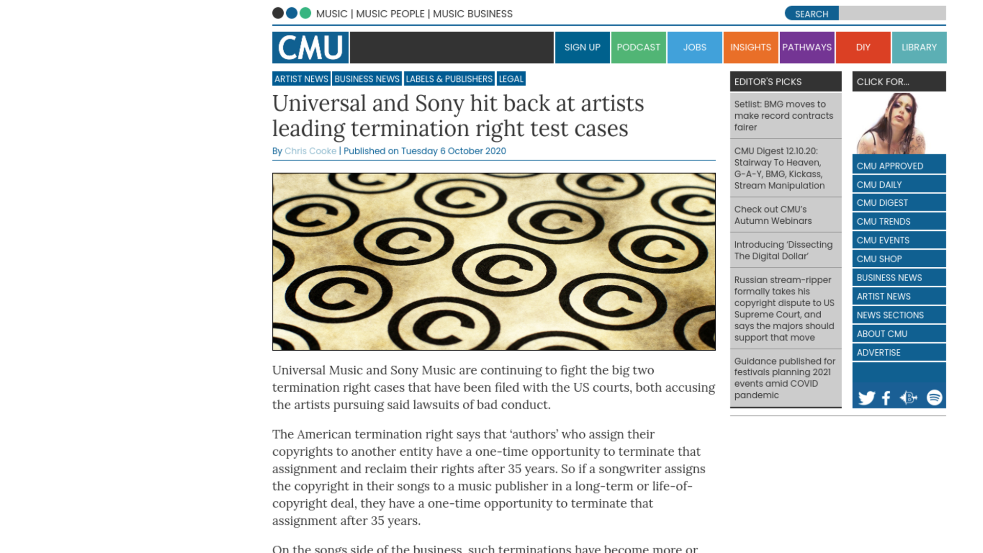 Fairness Rocks News Universal and Sony hit back at artists leading termination right test cases