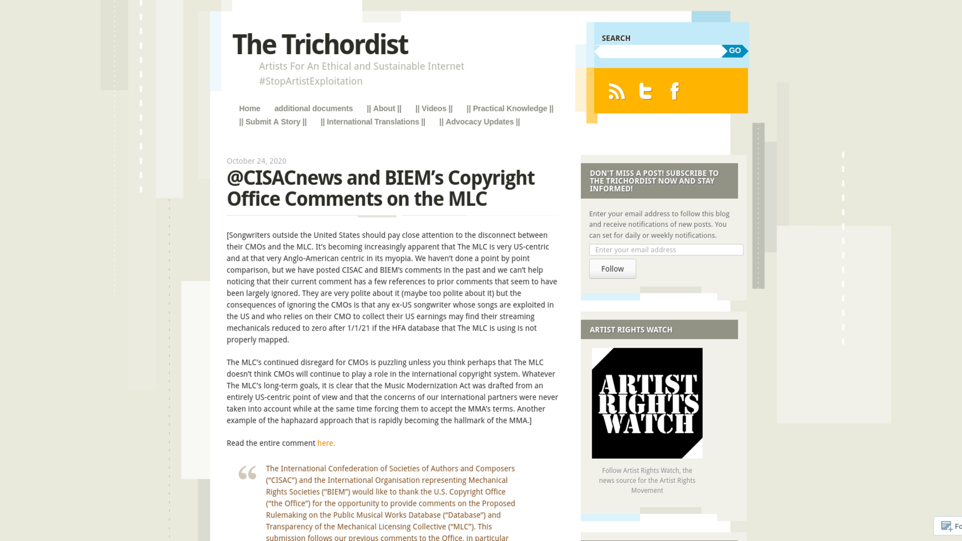 Fairness Rocks News @CISACnews and BIEM's Copyright Office Comments on the MLC