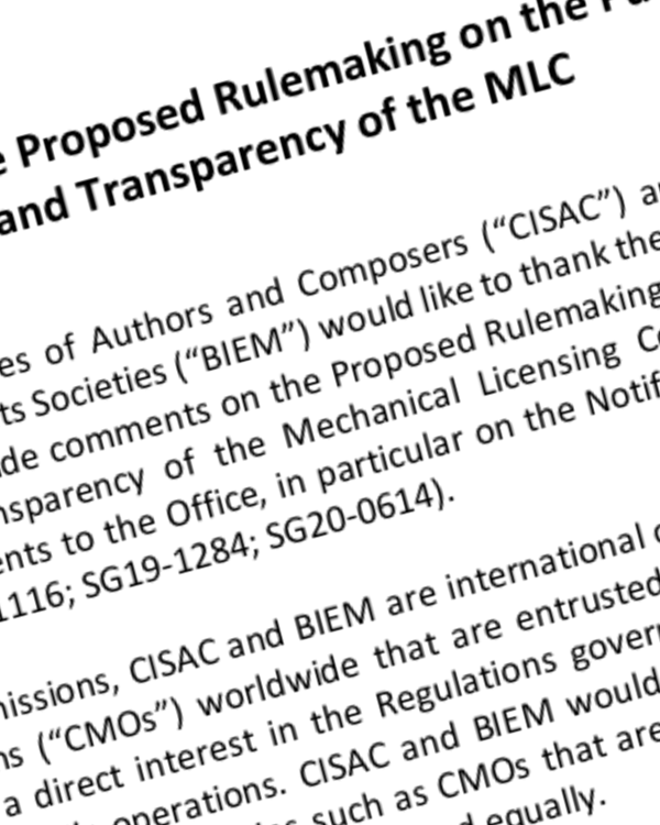 Fairness Rocks News CISAC and BIEM submission on the Proposed Rulemaking on the Public Musical  Works Database and Transparency of the MLC