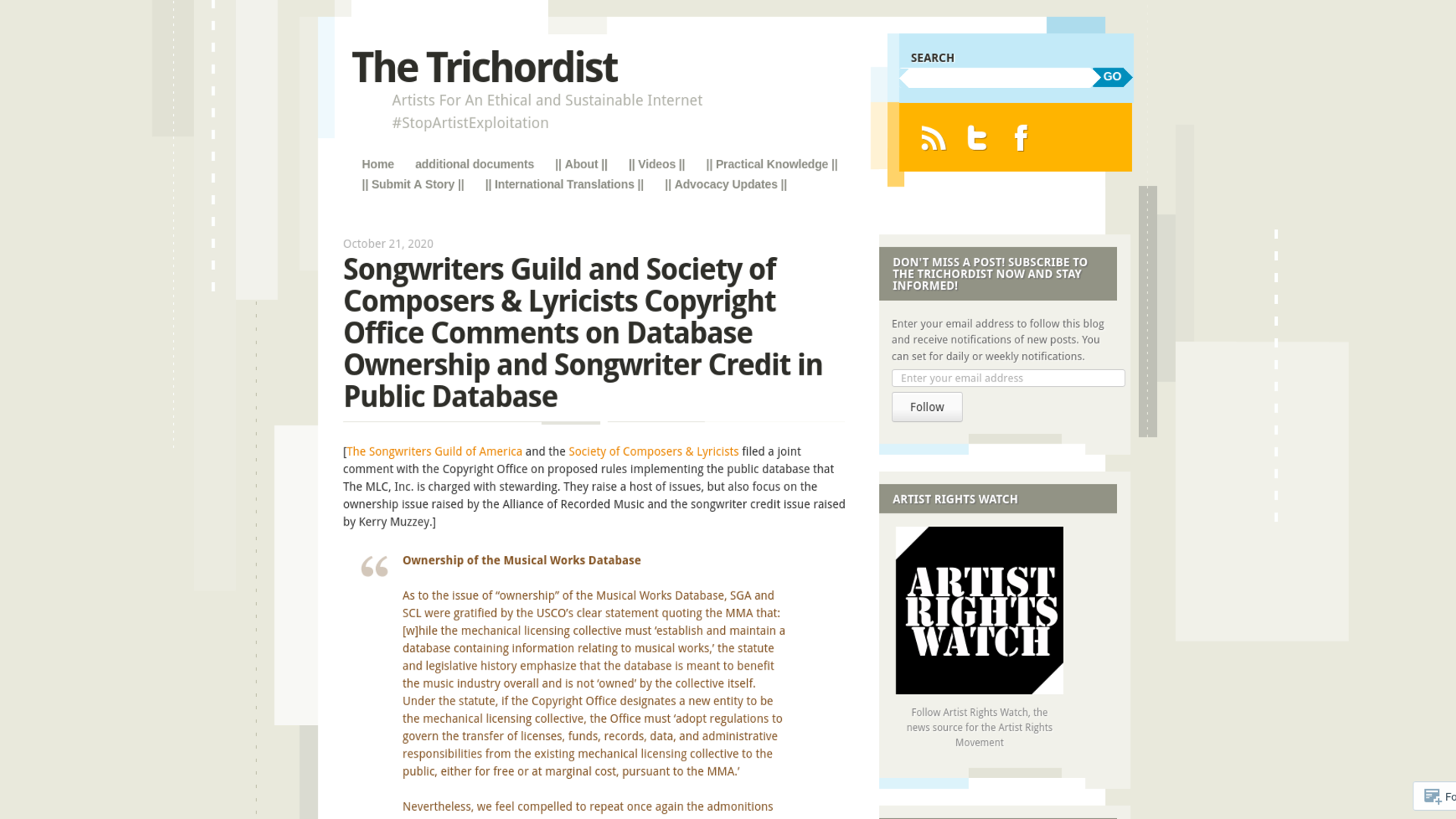 Fairness Rocks News Songwriters Guild and Society of Composers & Lyricists Copyright Office Comments on Database Ownership and Songwriter Credit in Public Database