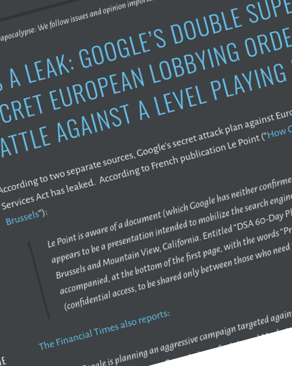 Fairness Rocks News It's A Leak: Google's Double Super Secret European Lobbying Order of Battle Against a Level Playing Field
