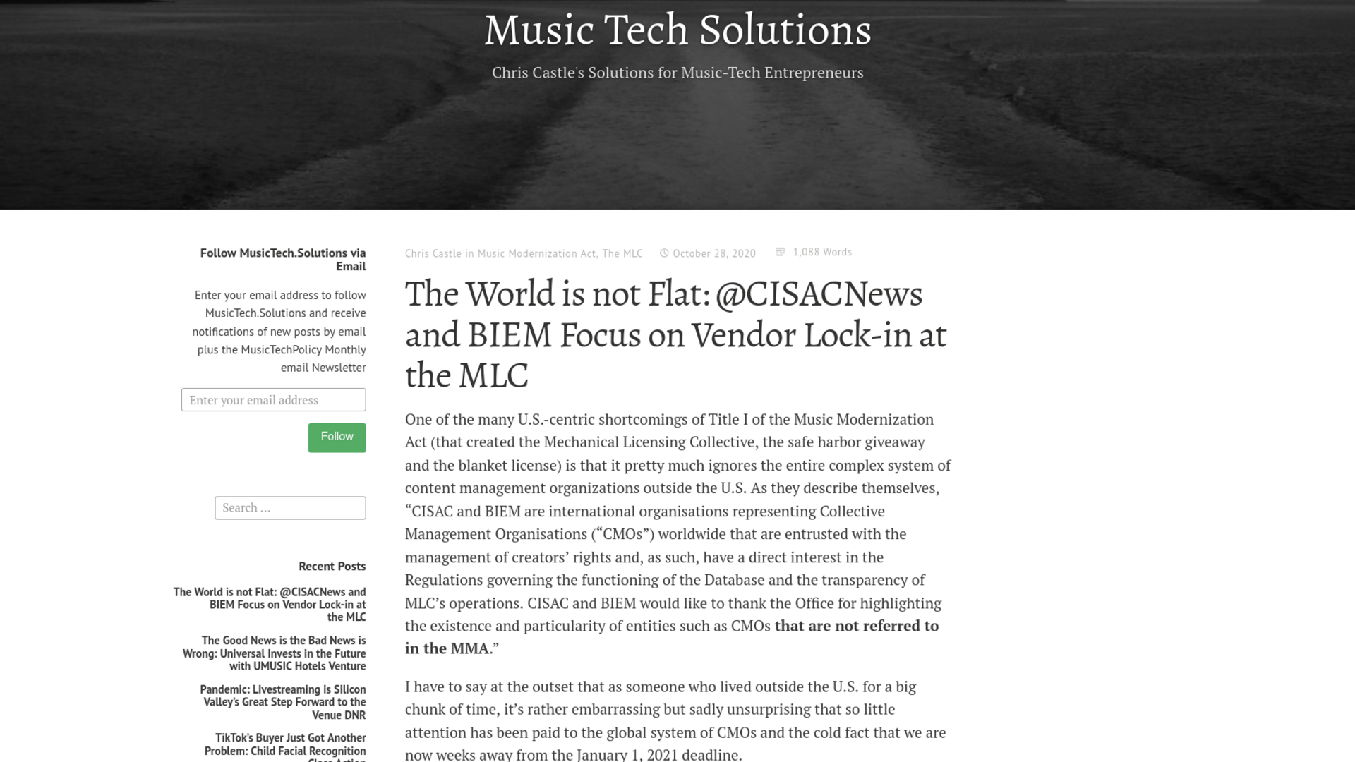 Fairness Rocks News The World is not Flat: @CISACNews and BIEM Focus on Vendor Lock-in at the MLC