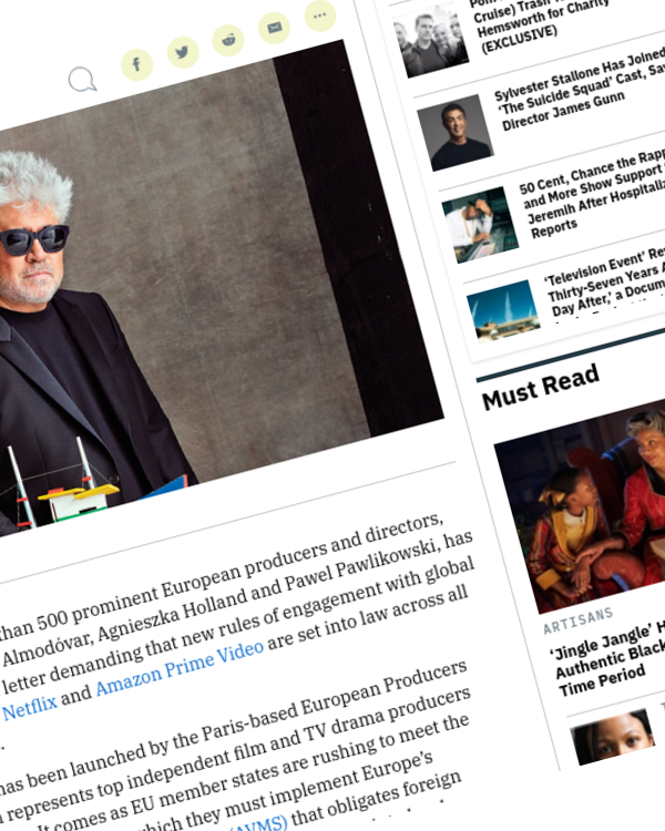 Fairness Rocks News Pedro Almodovar, Agnieszka Holland Among European Filmmakers Demanding New Rules of Engagement With U.S. Streamers