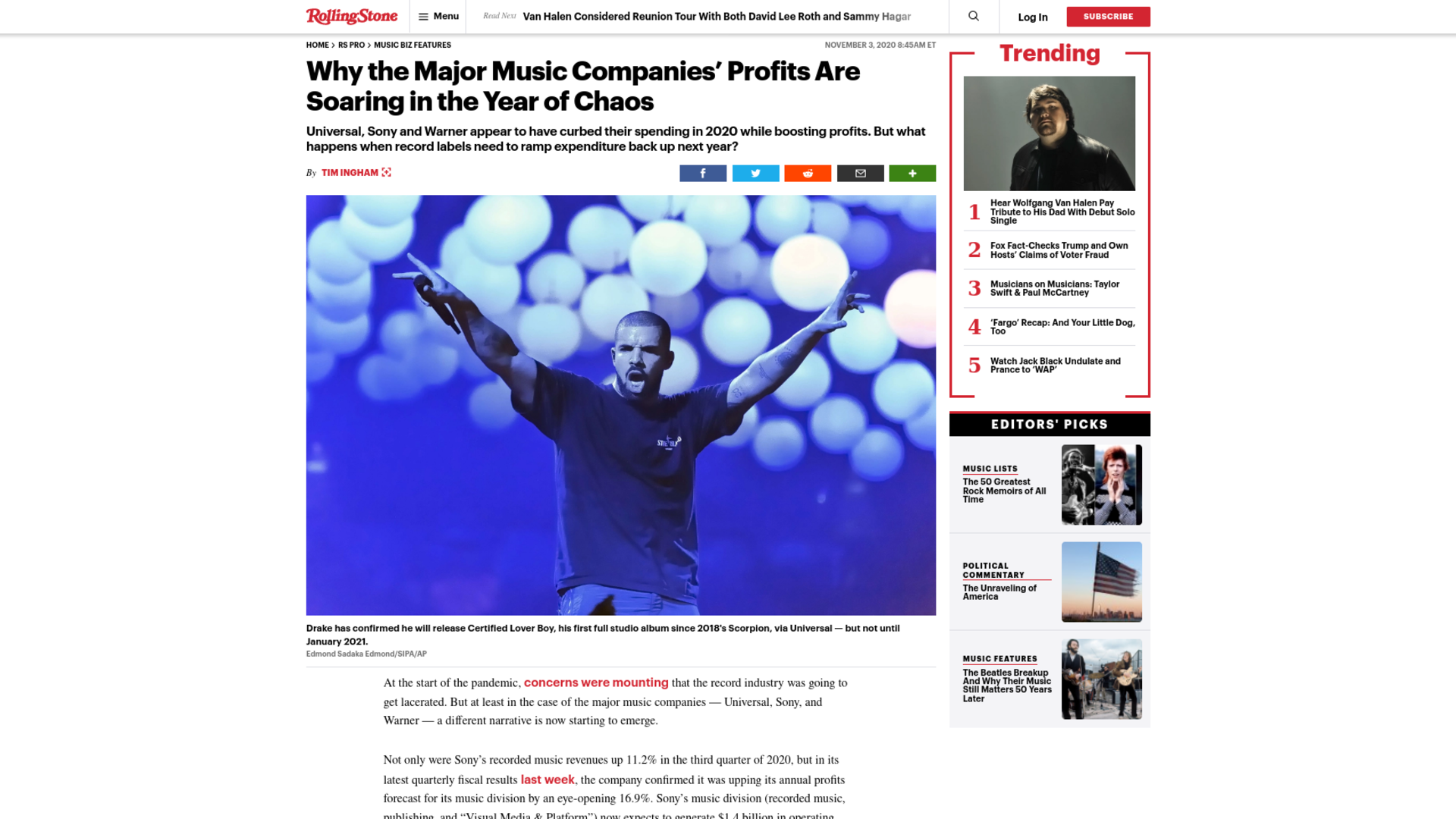 Fairness Rocks News Why the Major Music Companies' Profits Are Soaring in the Year of Chaos