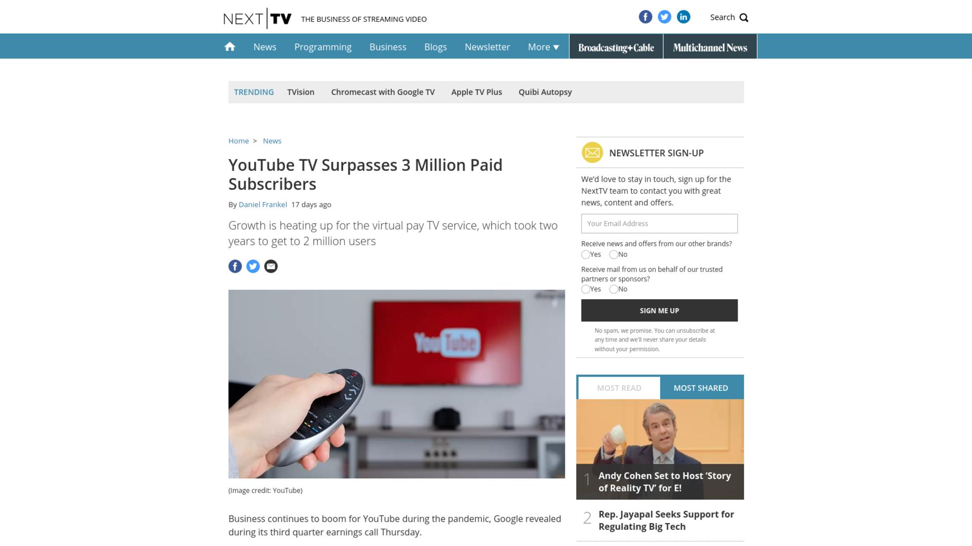 Fairness Rocks News YouTube TV Surpasses 3 Million Paid Subscribers