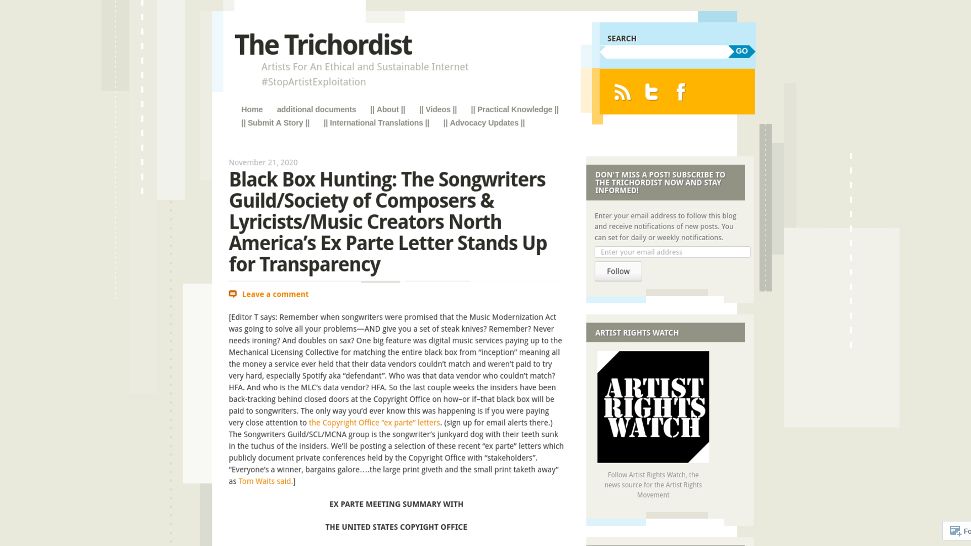 Fairness Rocks News Black Box Hunting: The Songwriters Guild/Society of Composers & Lyricists/Music Creators North America's Ex Parte Letter Stands Up for Transparency