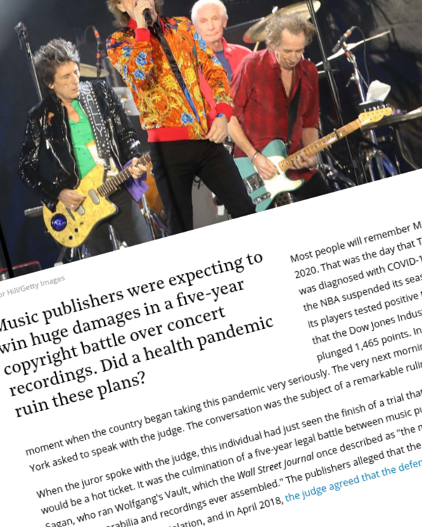 Fairness Rocks News No Encore for Music Publishers Who Say COVID-19 Wrecked Copyright Trial