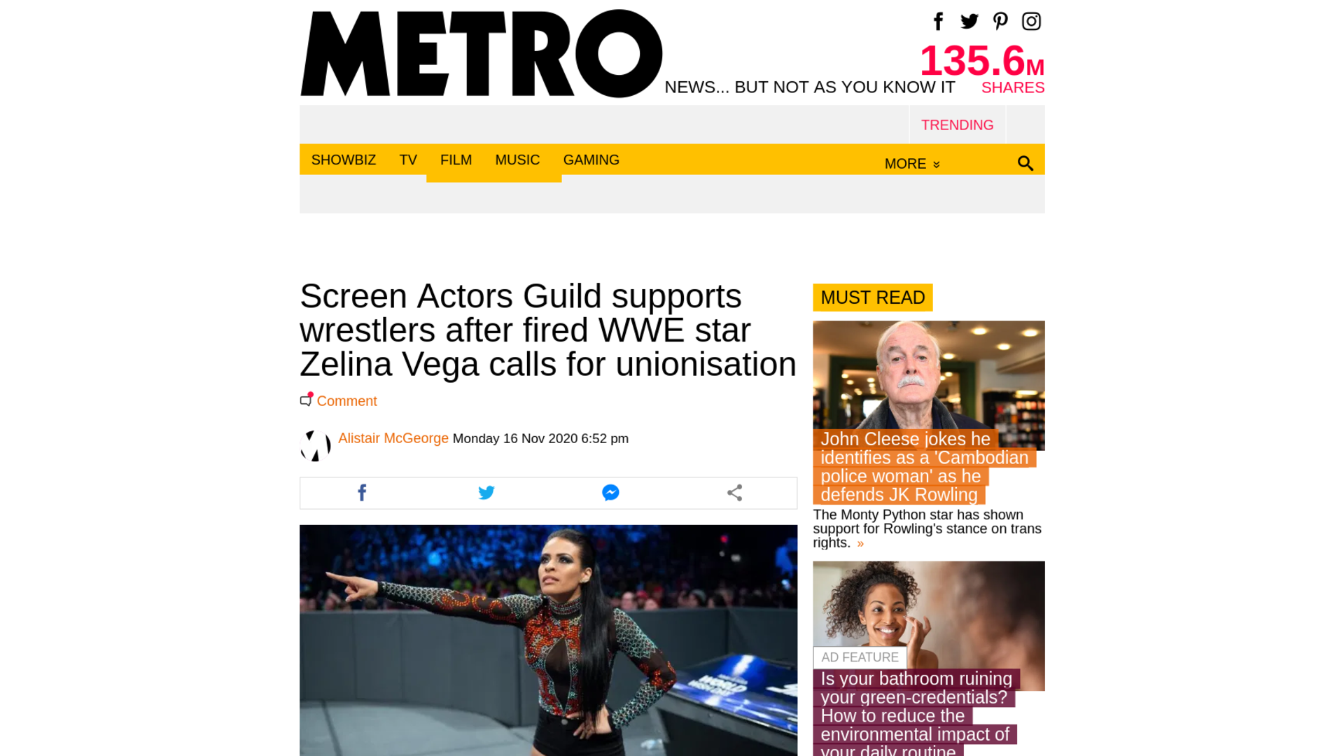 Fairness Rocks News Screen Actors Guild supports wrestlers after fired WWE star Zelina Vega calls for unionisation