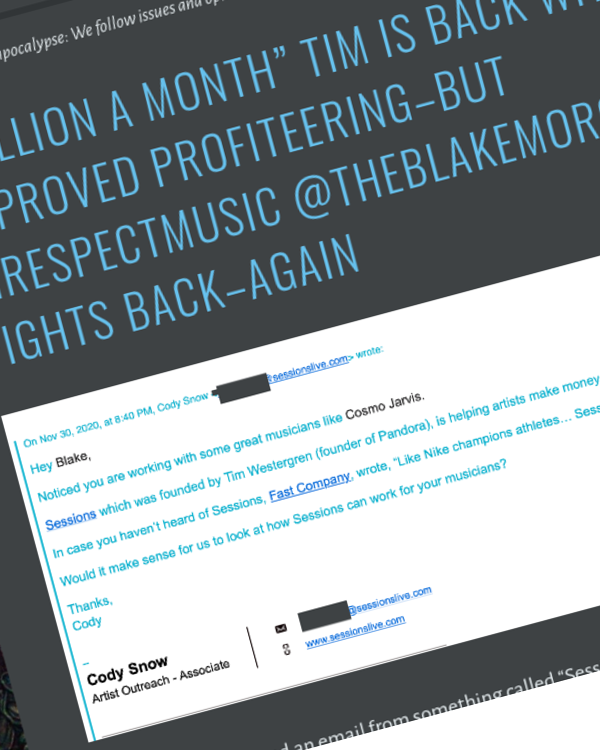 """Fairness Rocks News """"Million a Month"""" Tim is Back with New Improved Profiteering–But #irespectmusic @theblakemorgan Fights Back–Again"""