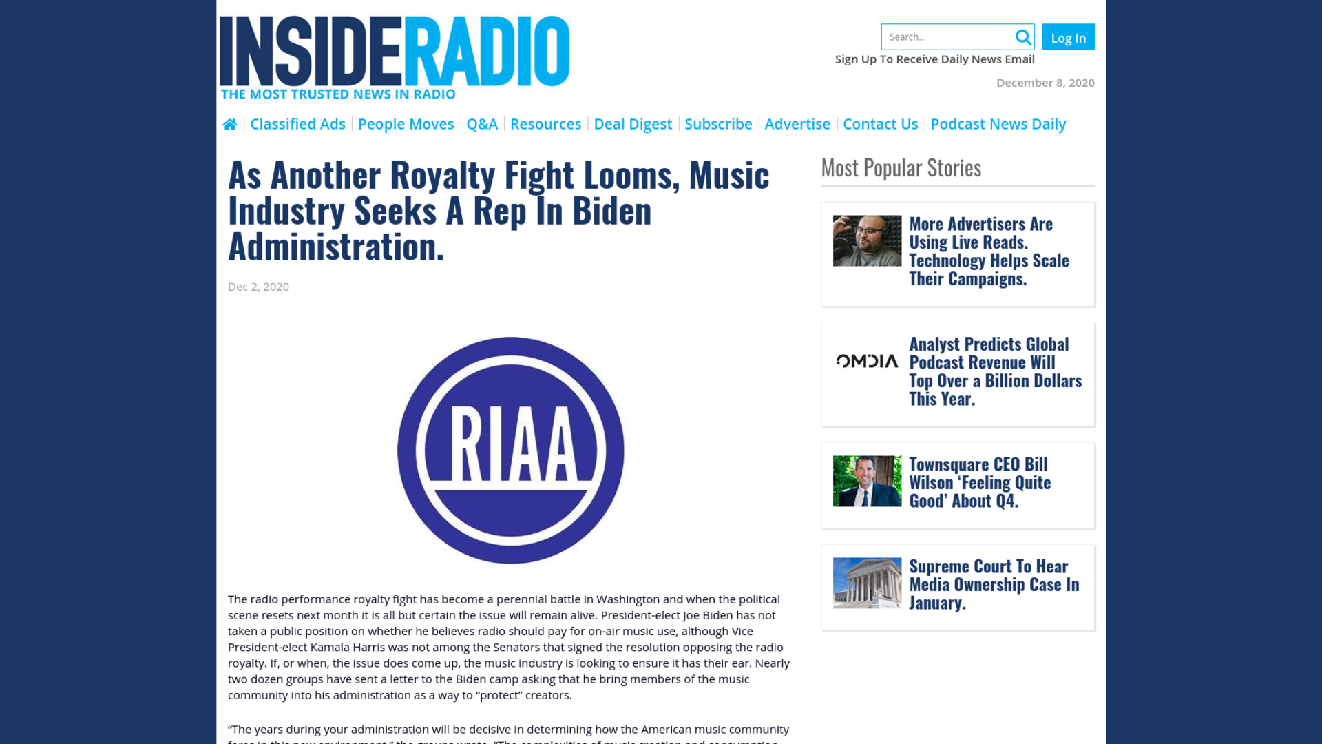 Fairness Rocks News As Another Royalty Fight Looms, Music Industry Seeks A Rep In Biden Administration.
