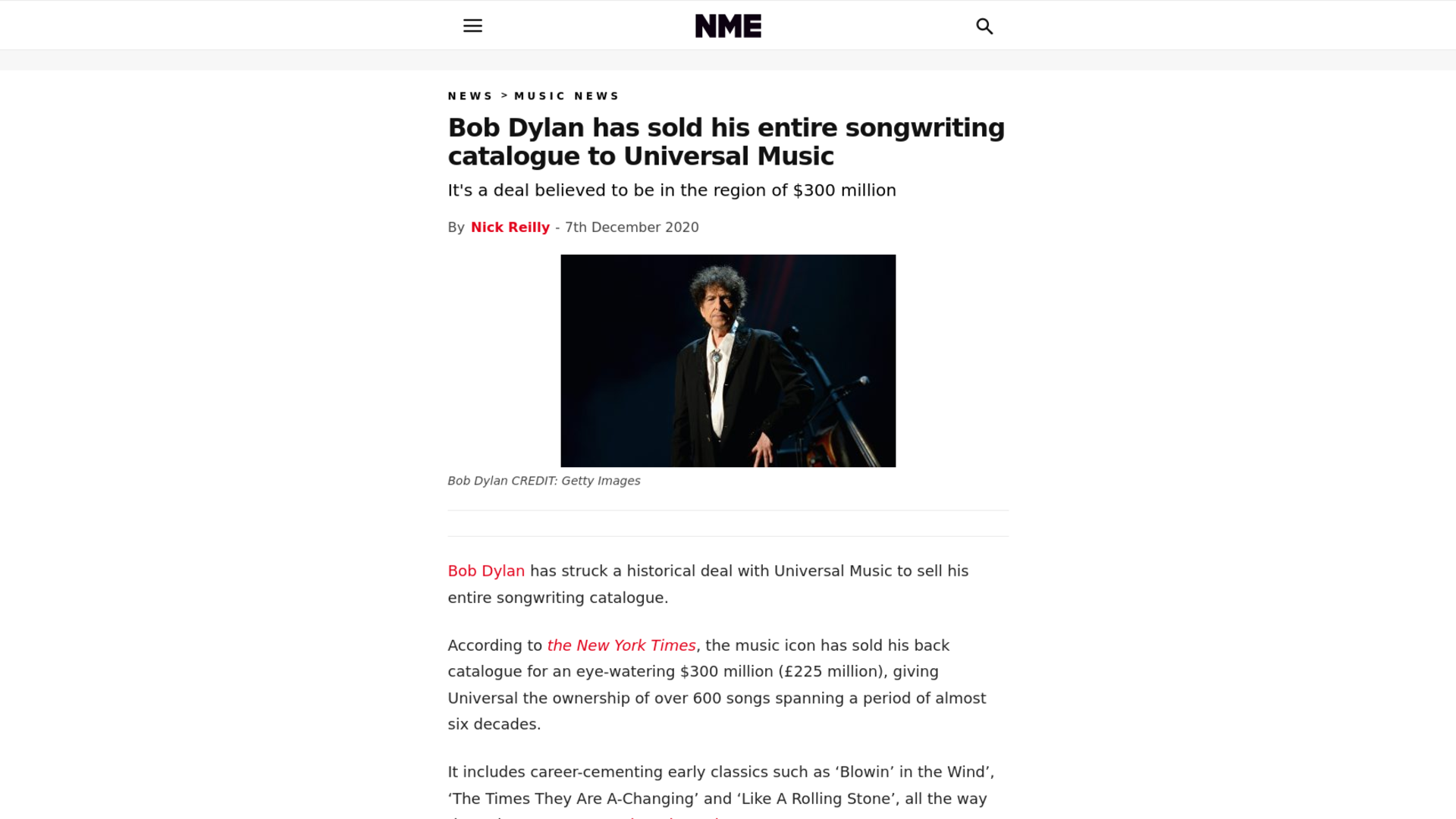 Fairness Rocks News Bob Dylan has sold his entire songwriting catalogue to Universal Music