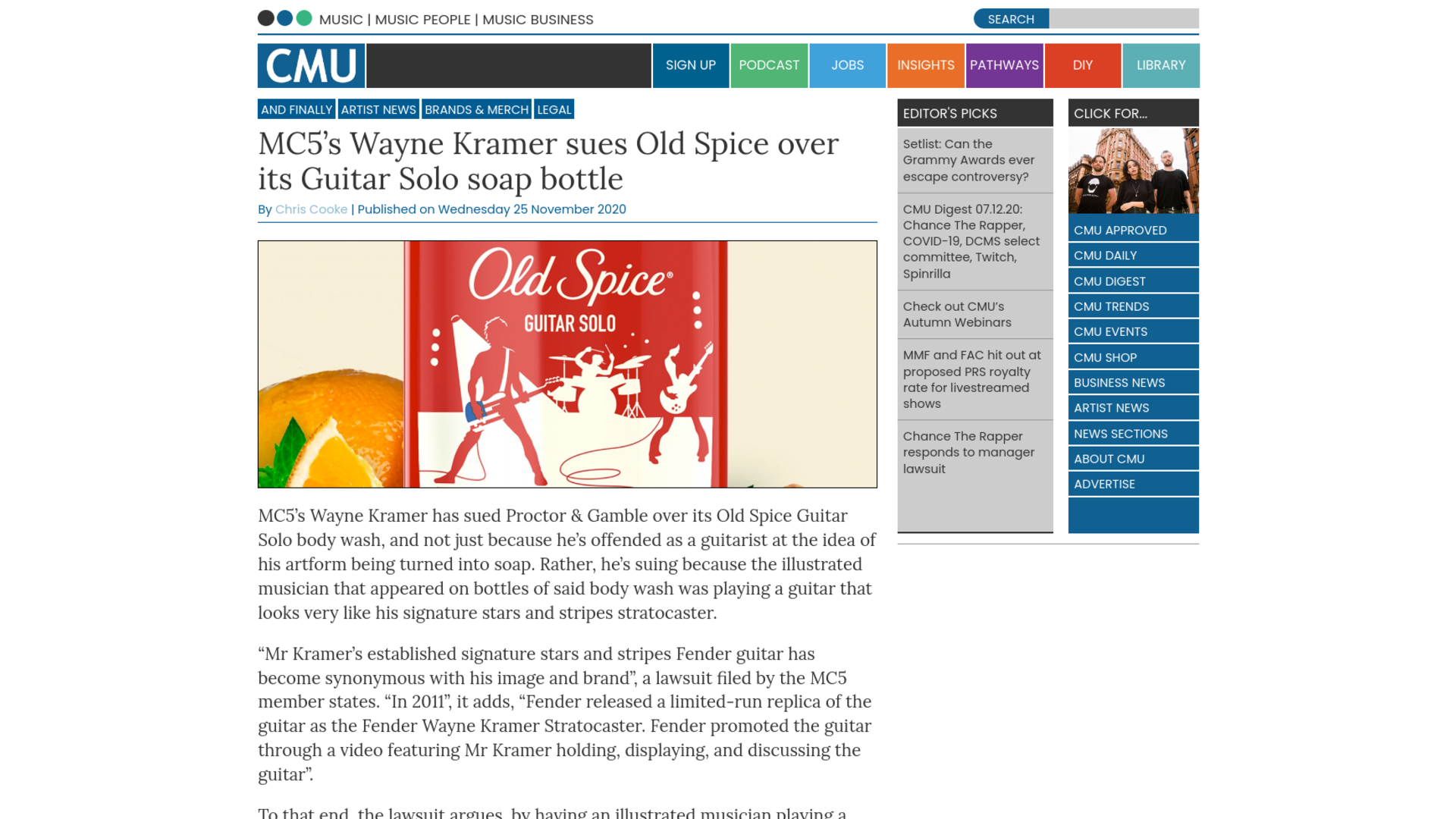 Fairness Rocks News MC5's Wayne Kramer sues Old Spice over its Guitar Solo soap bottle