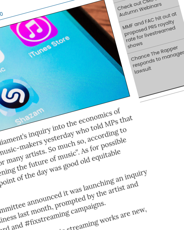 Fairness Rocks News Performer ER in the spotlight at first parliamentary hearing on the economics of music streaming
