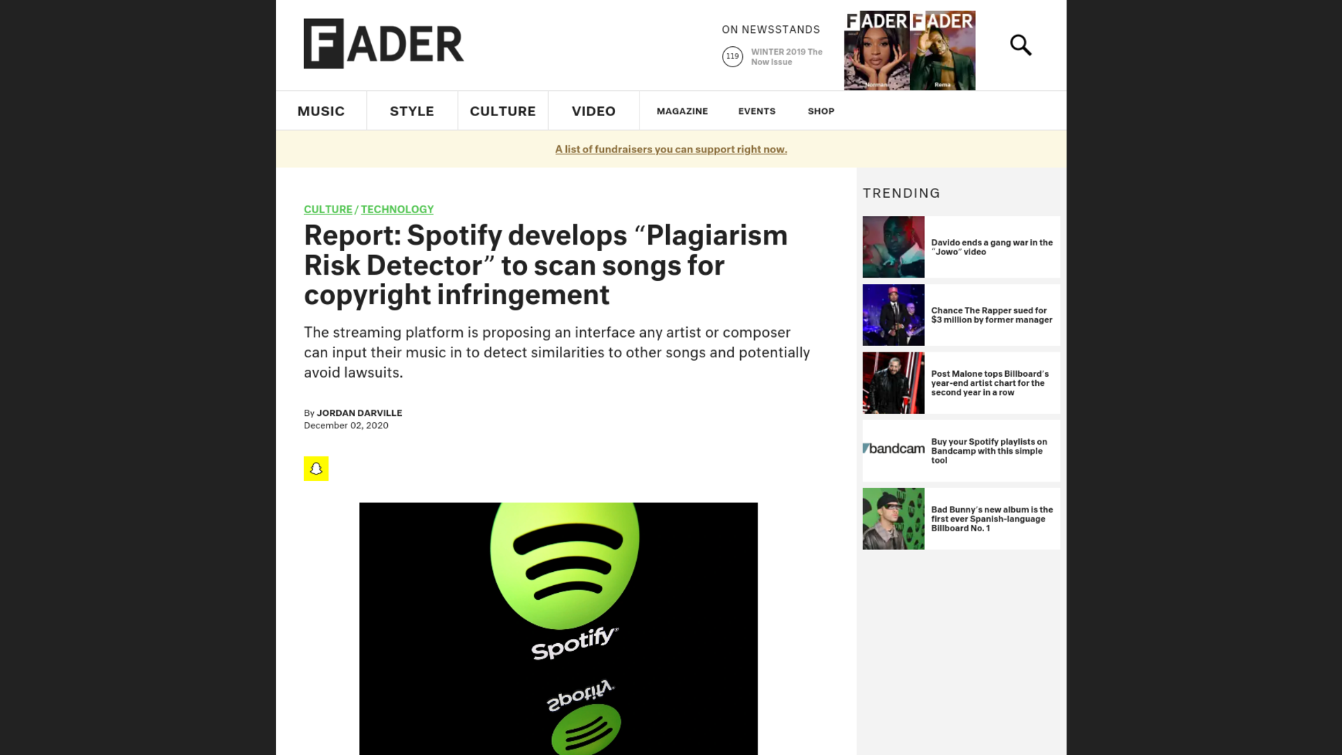"""Fairness Rocks News Report: Spotify develops """"Plagiarism Risk Detector"""" to scan songs for copyright infringement"""