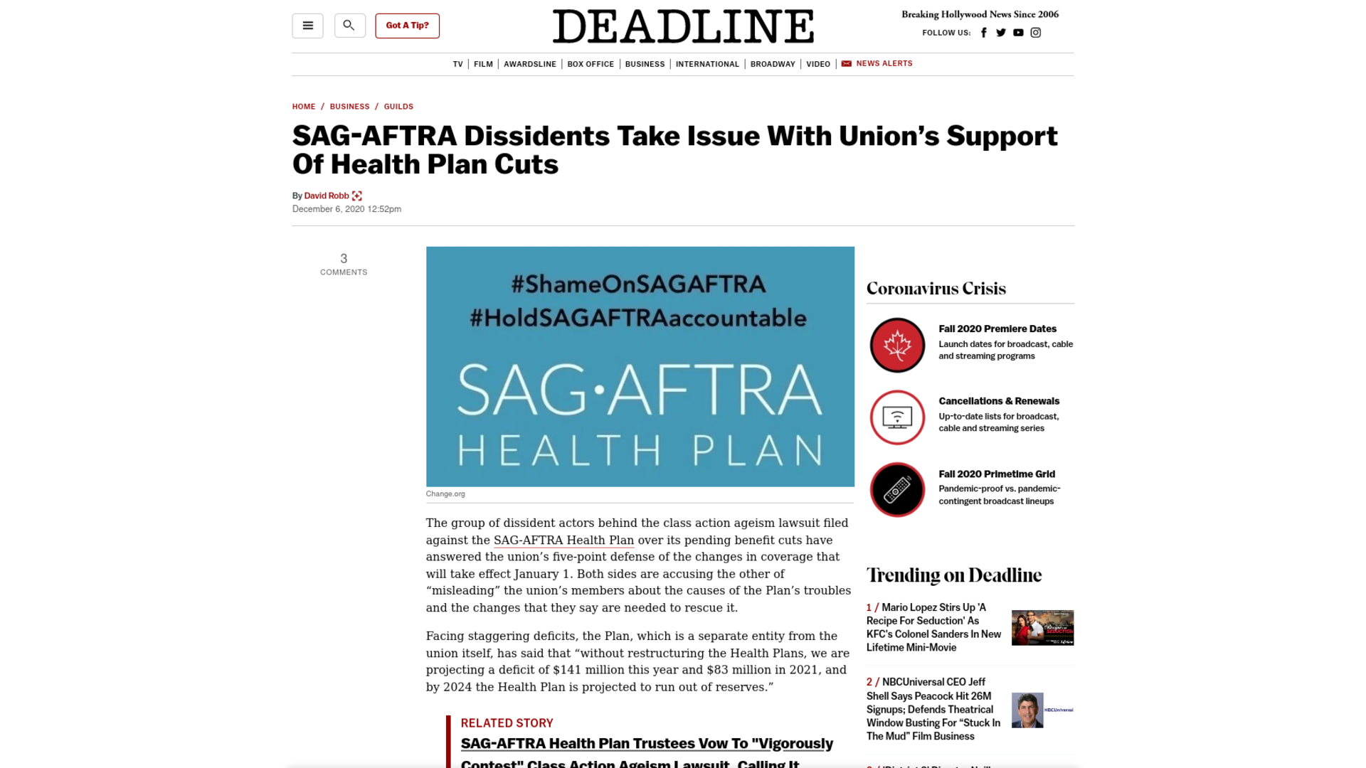 Fairness Rocks News SAG-AFTRA Dissidents Take Issue With Union's Support Of Health Plan Cuts