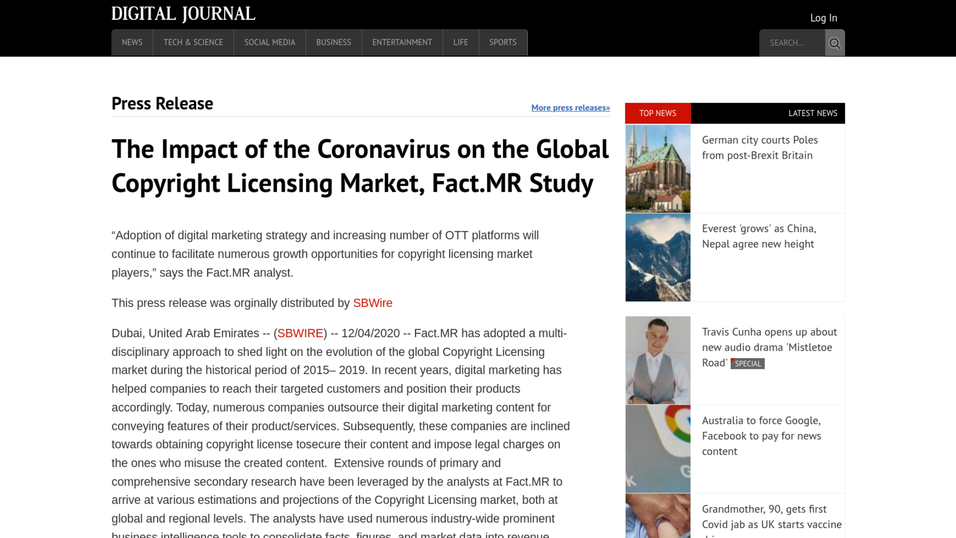 Fairness Rocks News The Impact of the Coronavirus on the Global Copyright Licensing Market, Fact.MR Study