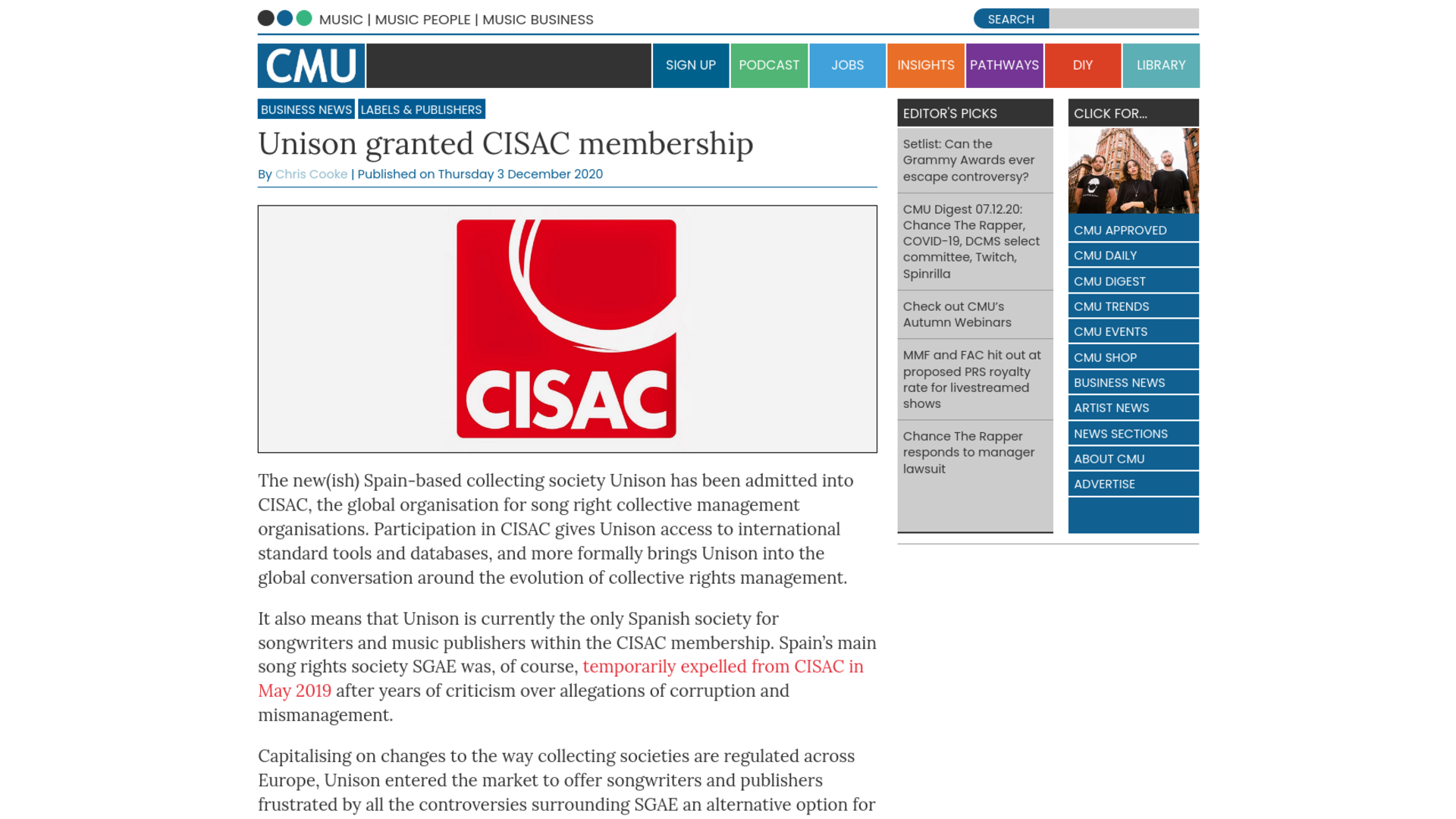 Fairness Rocks News Unison granted CISAC membership