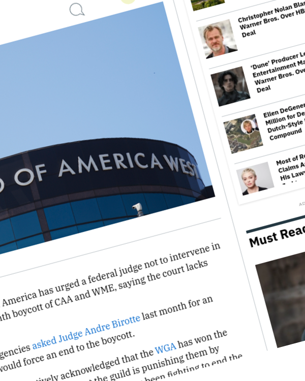 Fairness Rocks News WGA Urges Judge Not to Intervene in Agency Boycott